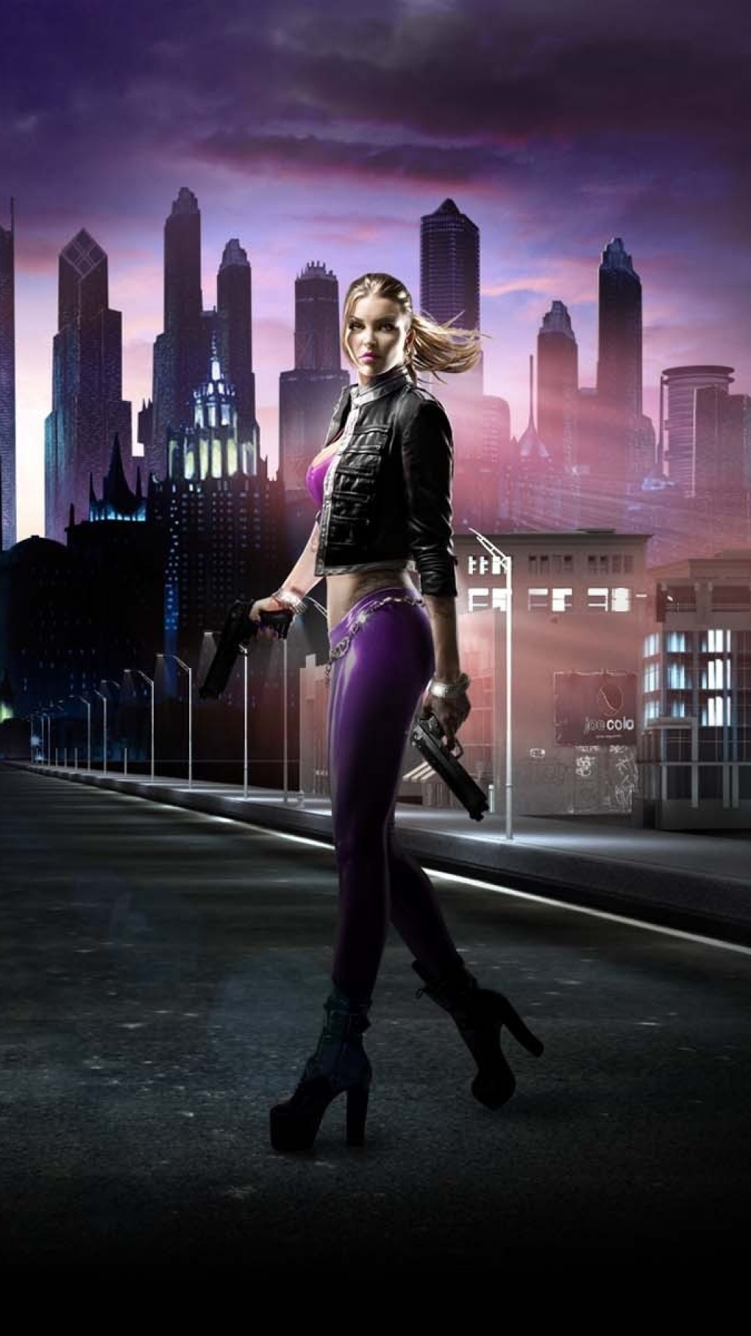 1080x1920 Preview wallpaper saints row, girl, road, city, night