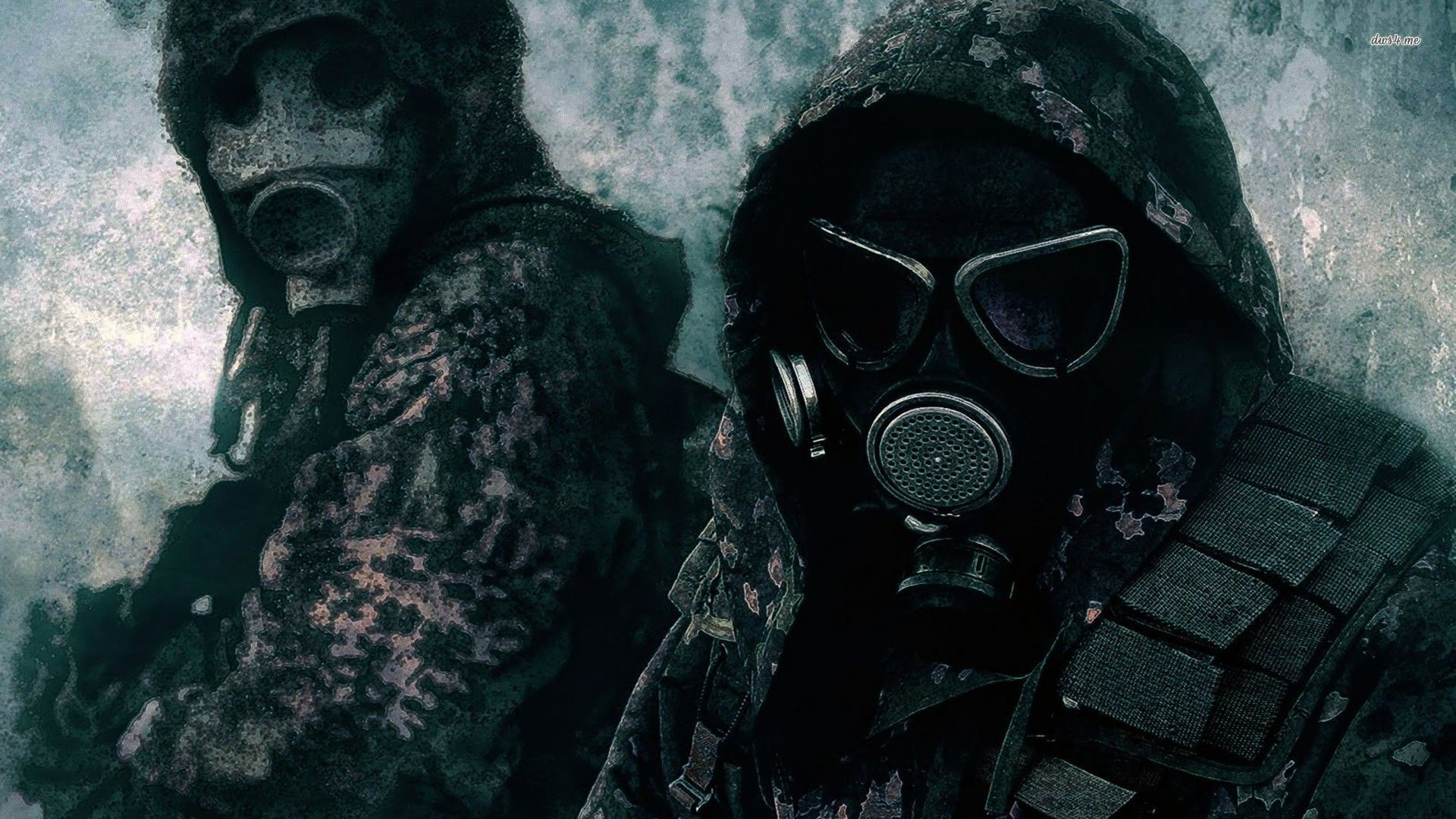 1920x1080 Post Apocalyptic Girl Soldiers In Gas Masks X Wallpaper