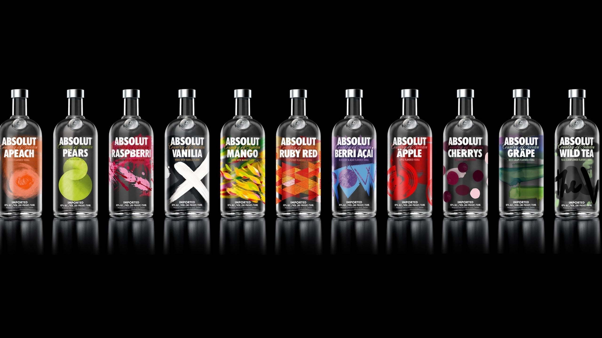 2560x1440 Preview wallpaper absolut, vodka, variety, alcohol