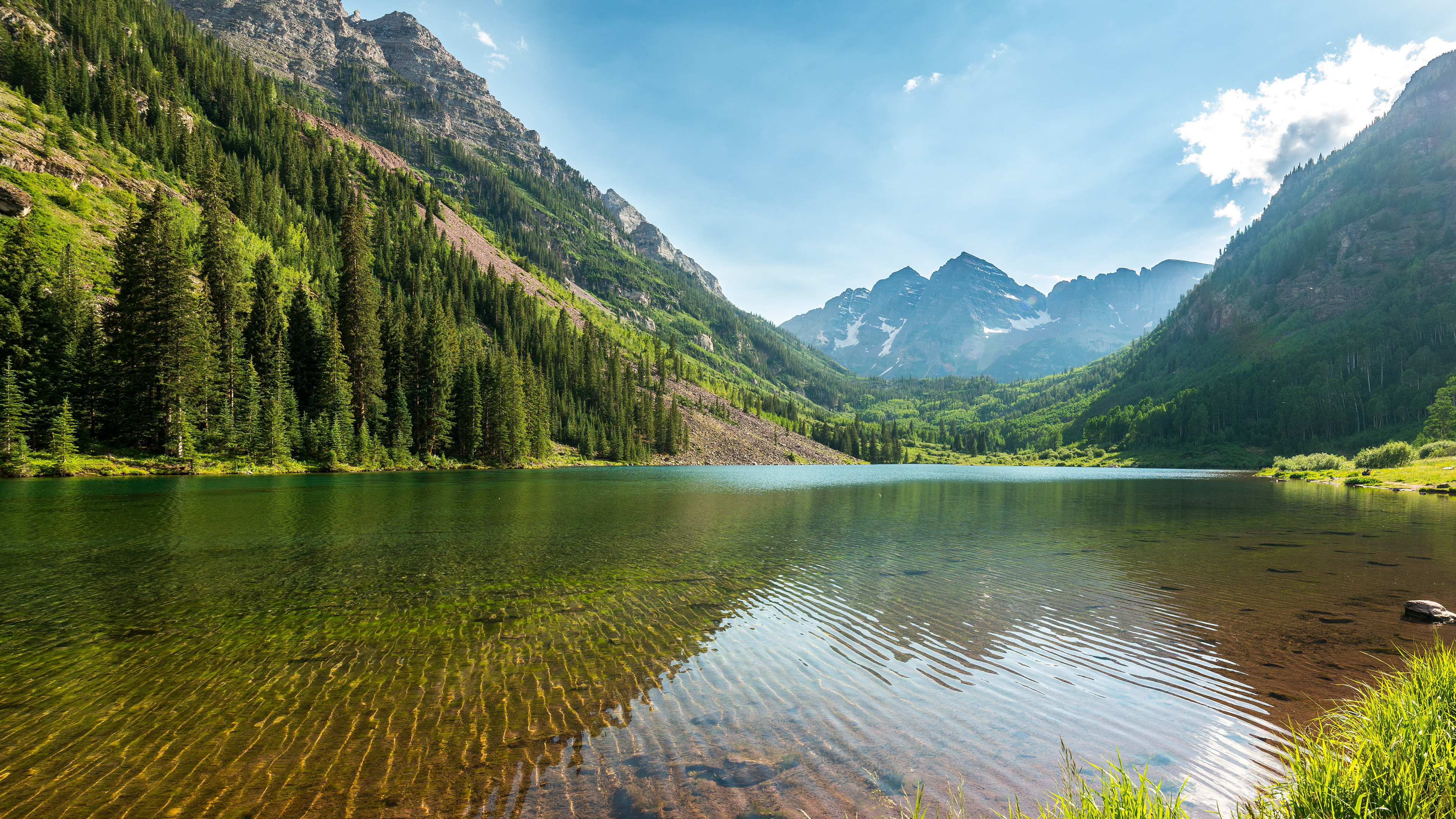 3840x2160 Nature lake and mountains 4K HD wallpaper