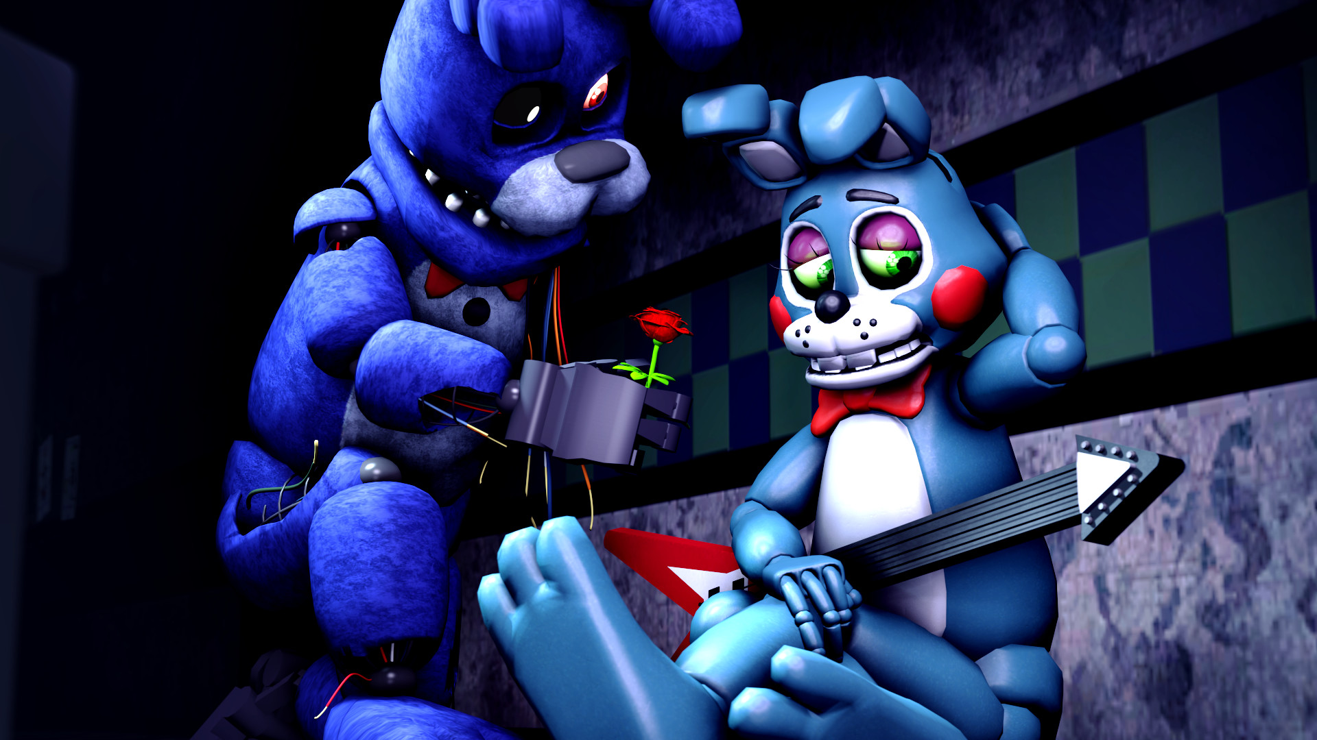1920x1080 ... A rose may make you happier-Bonnie and Toy Bonnie by TalonDang