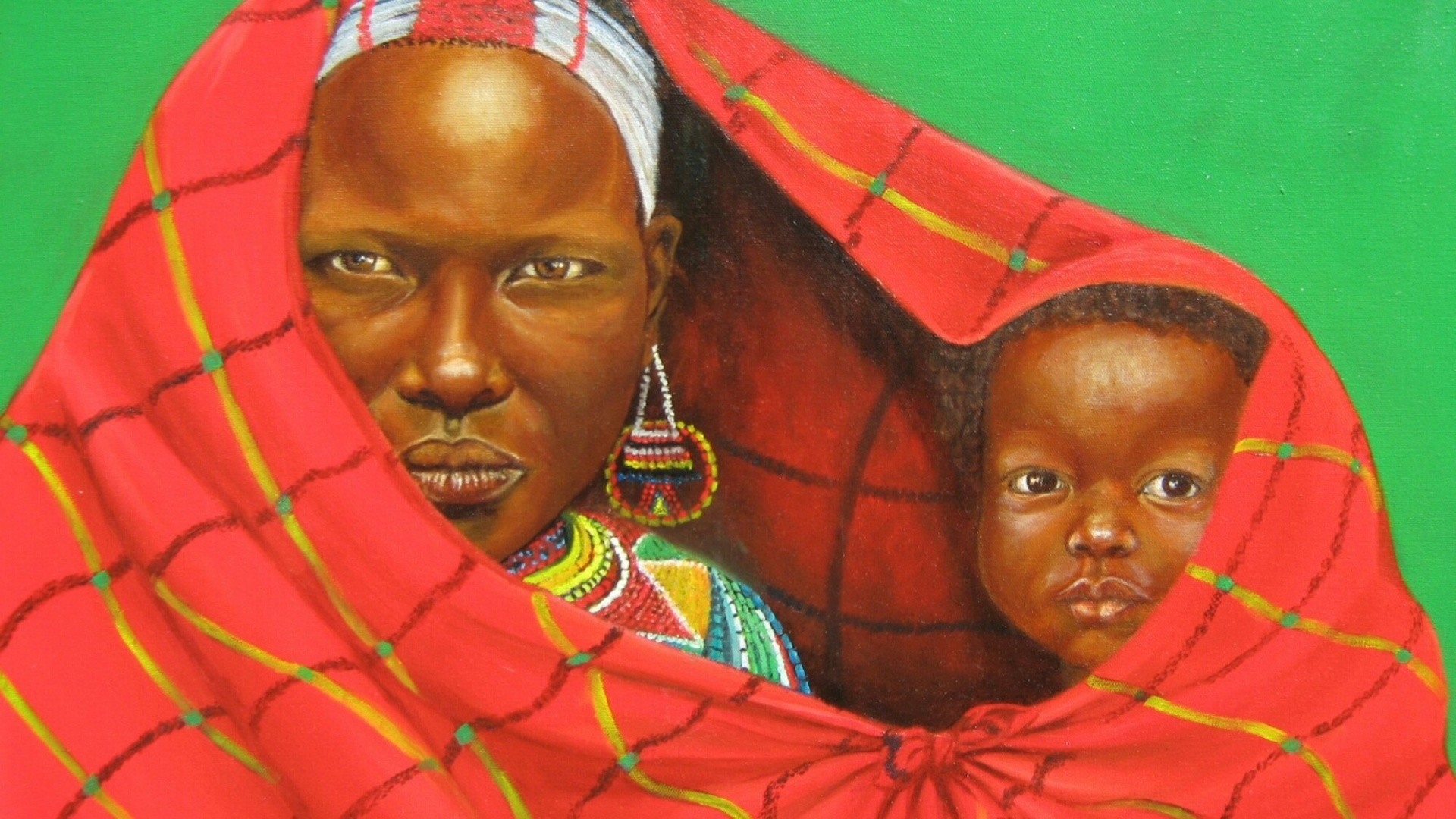 1920x1080 Child, African Art, Baby, Child African Art Painting