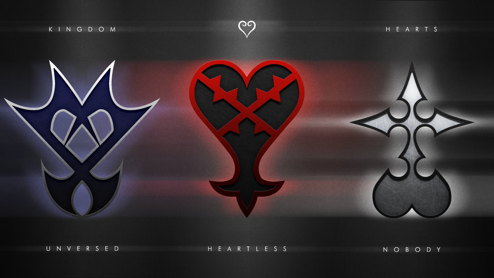1920x1080 Wallpaper with all 3 of the Kingdom Hearts emblems I did so far; Unversed,  Heartless and Nobody. Individual wallpapers here: Unversed - [link]  Heartless.