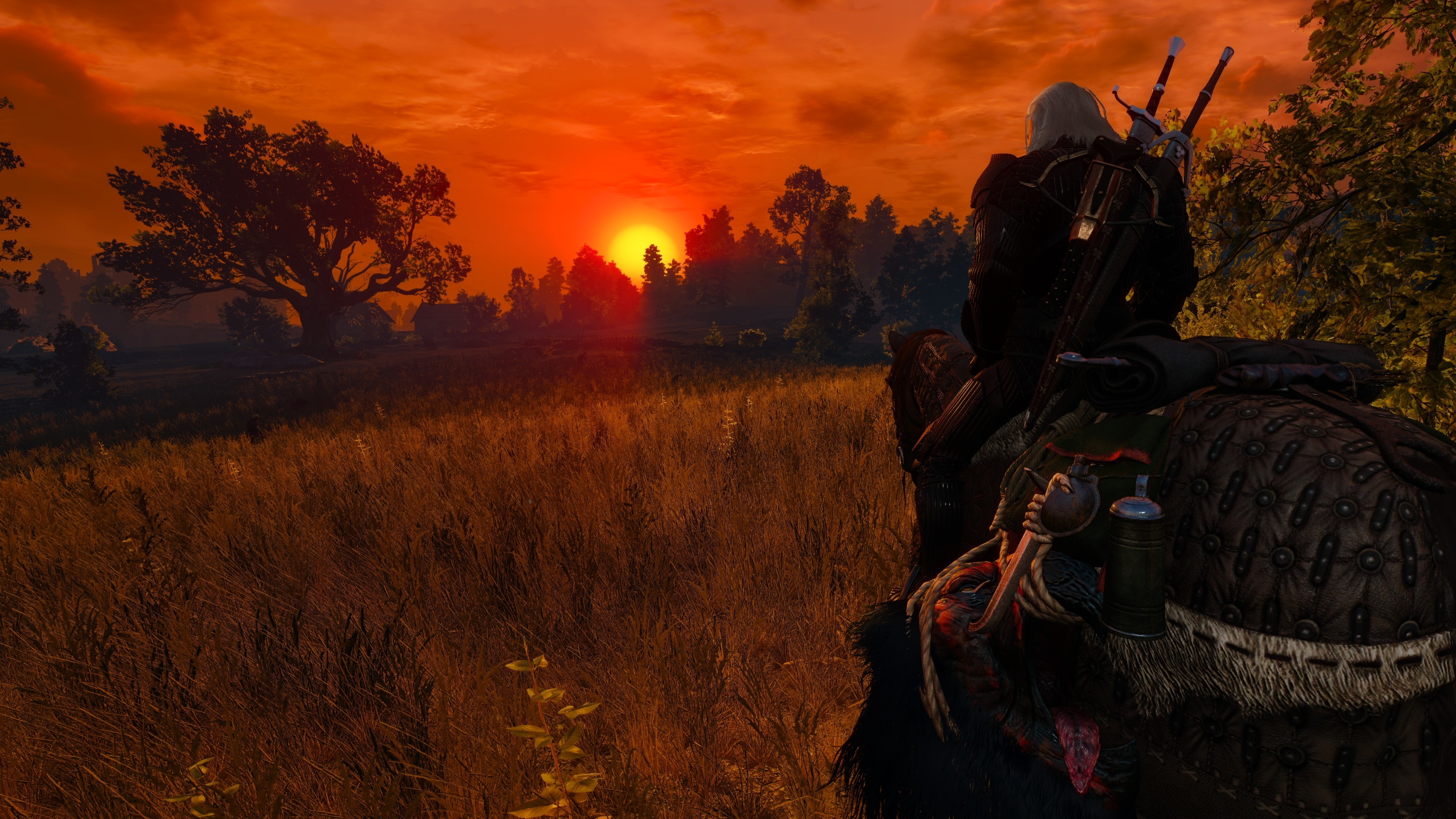3840x2160 sunset evening The Witcher 3 Wild Hunt Nvidia Ansel Geralt of Rivia Looking  into the distance