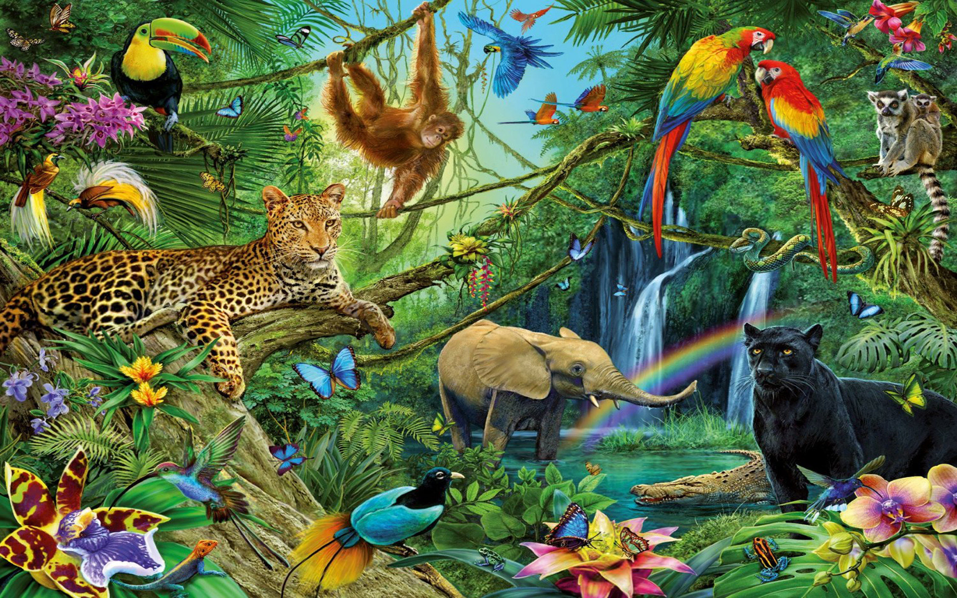 1920x1200 Animals of the Jungle