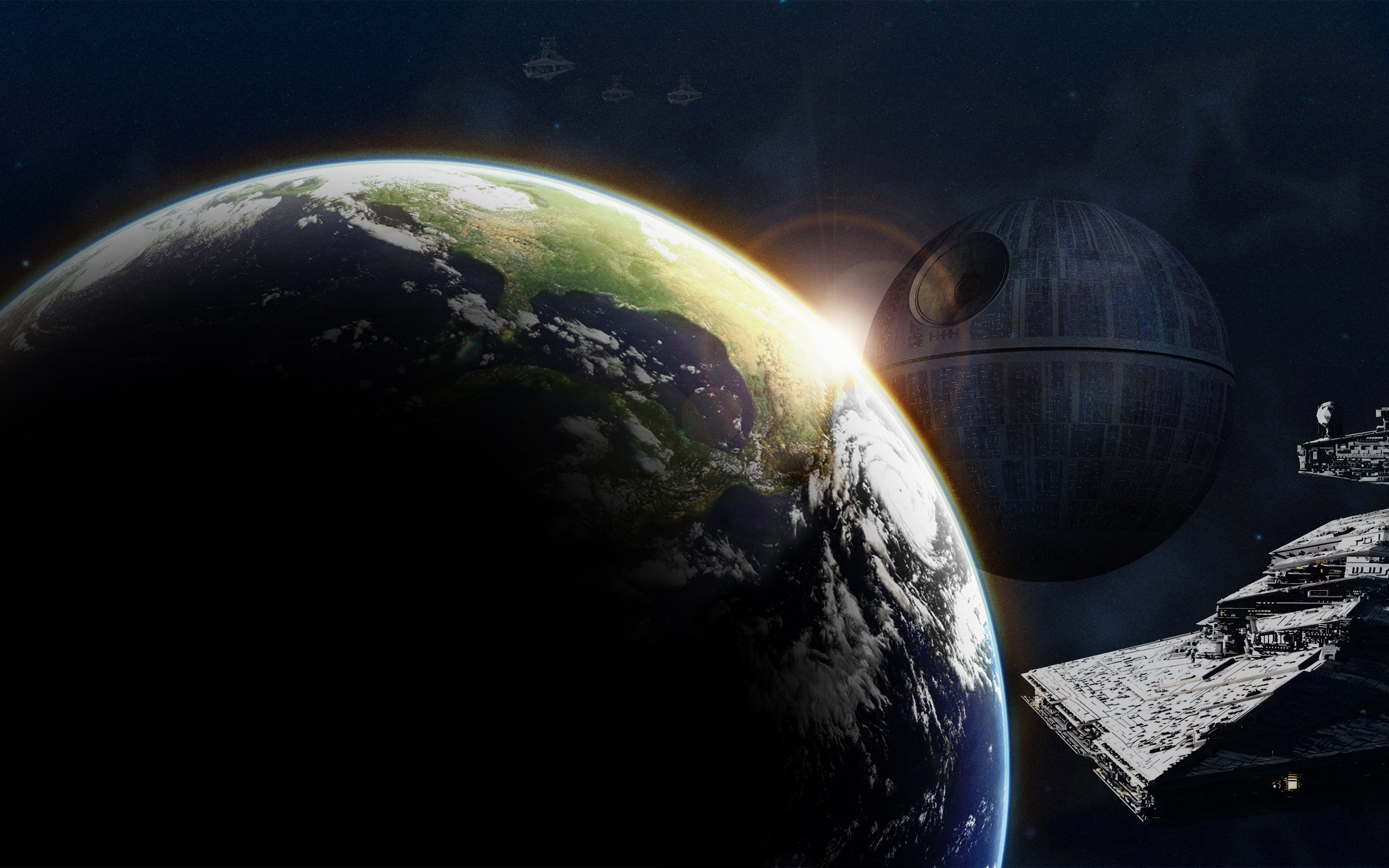 2560x1600 Star Wars, Earth, Space Art, Death Star, Star Destroyer Wallpapers HD /  Desktop and Mobile Backgrounds