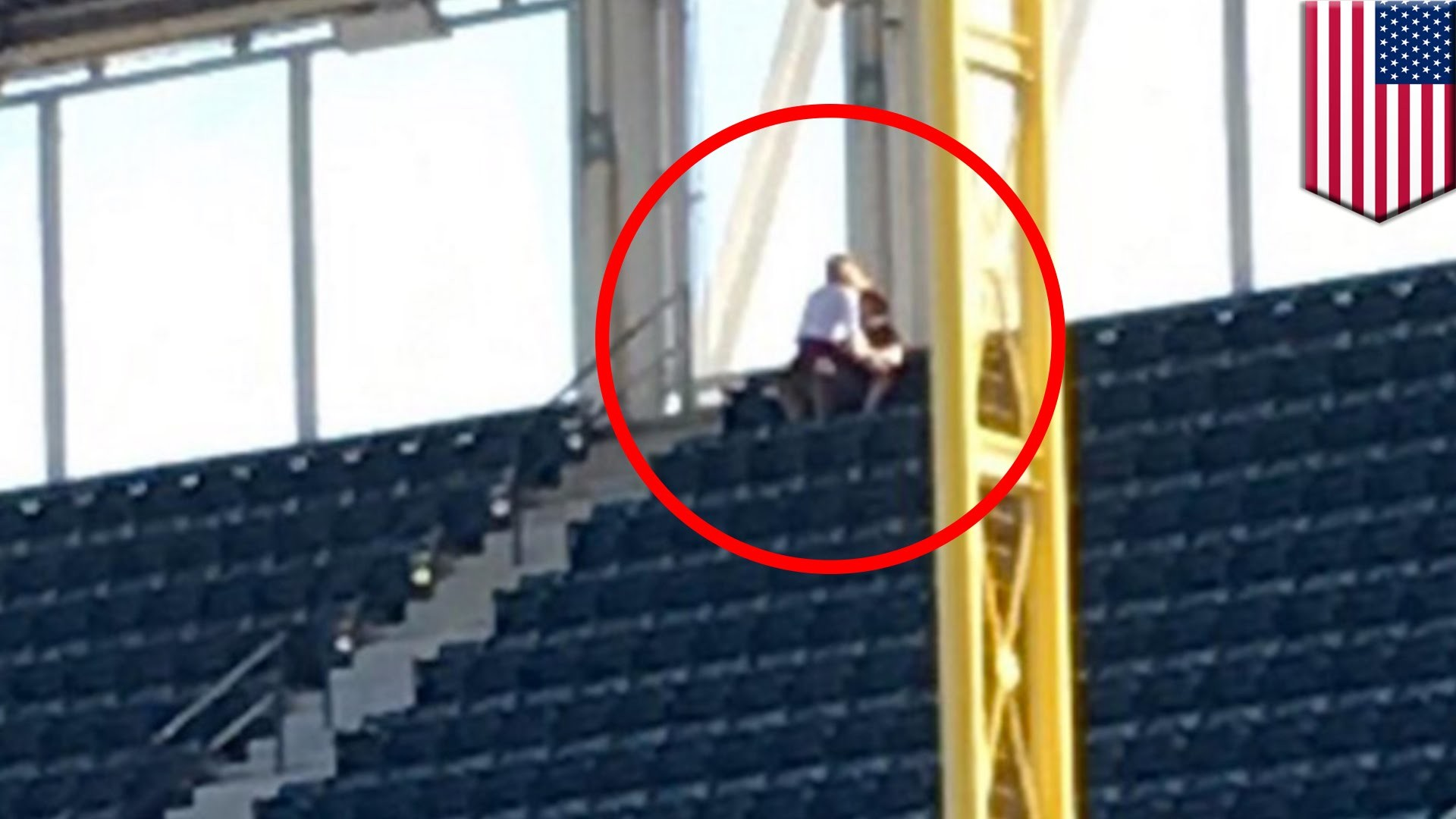 Couple having sex at baseball game