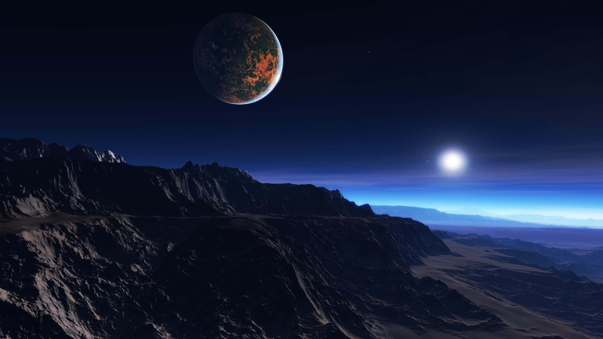 1920x1080 Preview wallpaper exoplanet atmosphere, clouds, stars, moon, mist,  mountains, rocks
