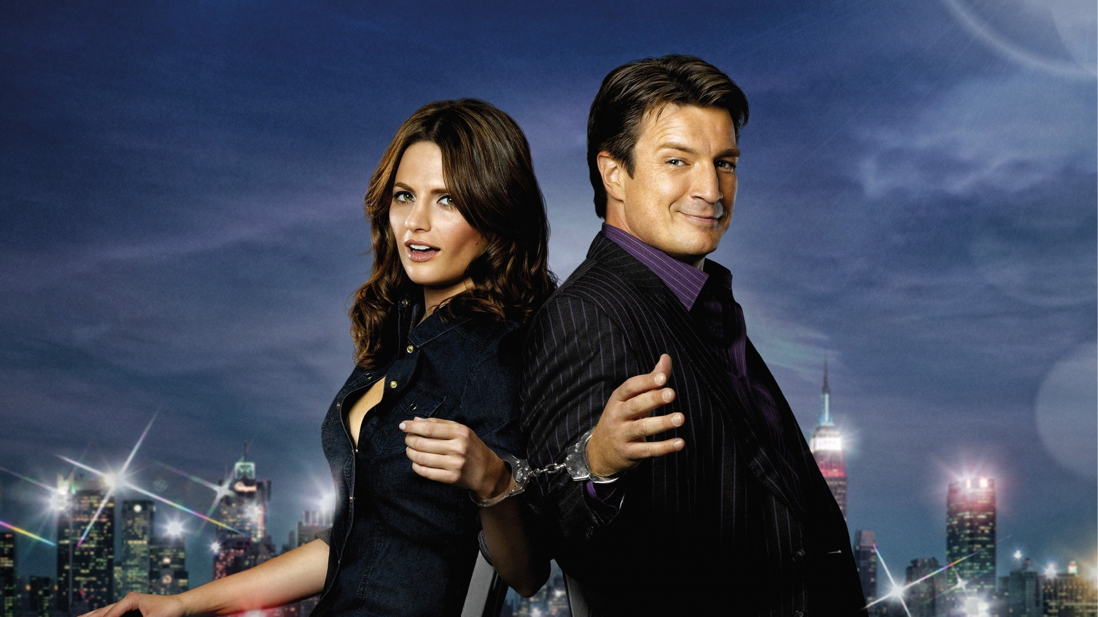 3840x2160  Wallpaper castle, series, stana katic, nathan fillion