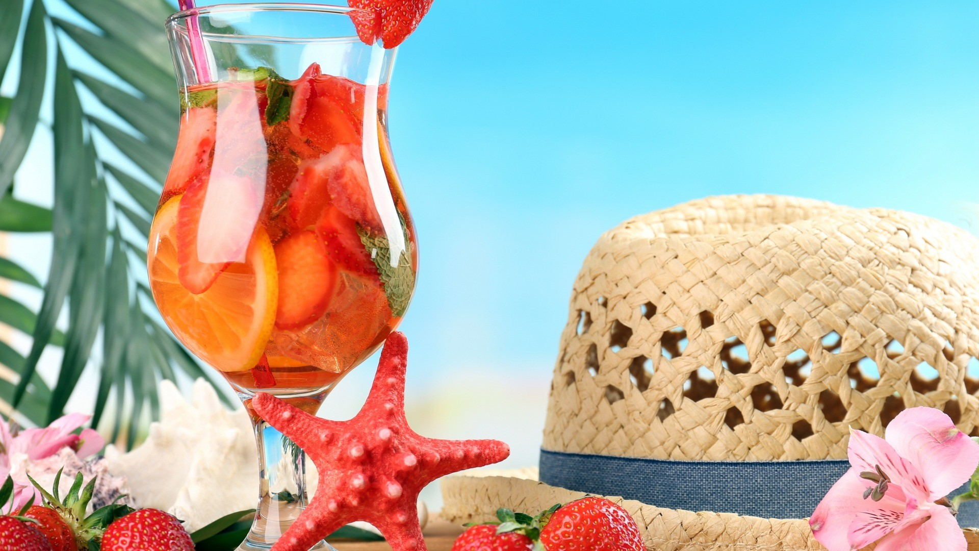 1920x1080 ... Enjoy summer holidays 2016 hat flower starfish cocktail strawberry,  beach beautiful wallpaper free download for