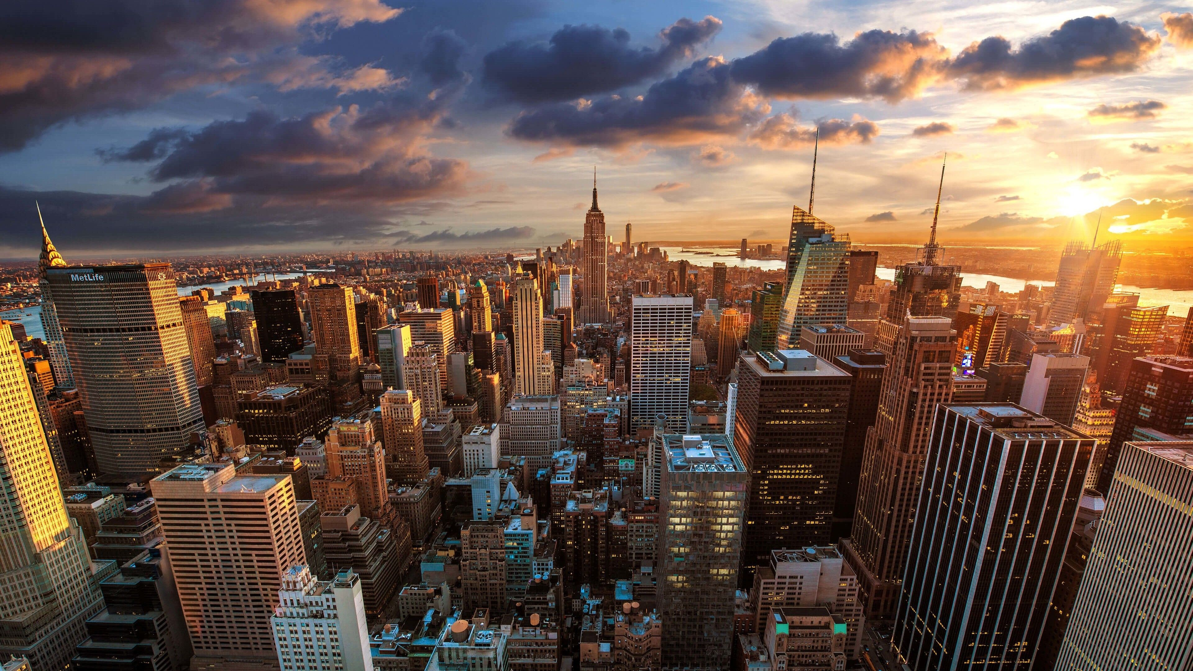 3840x2160 Nyc Skyline Sunset Of Awesome New York City At Wallpaper For 3840 .