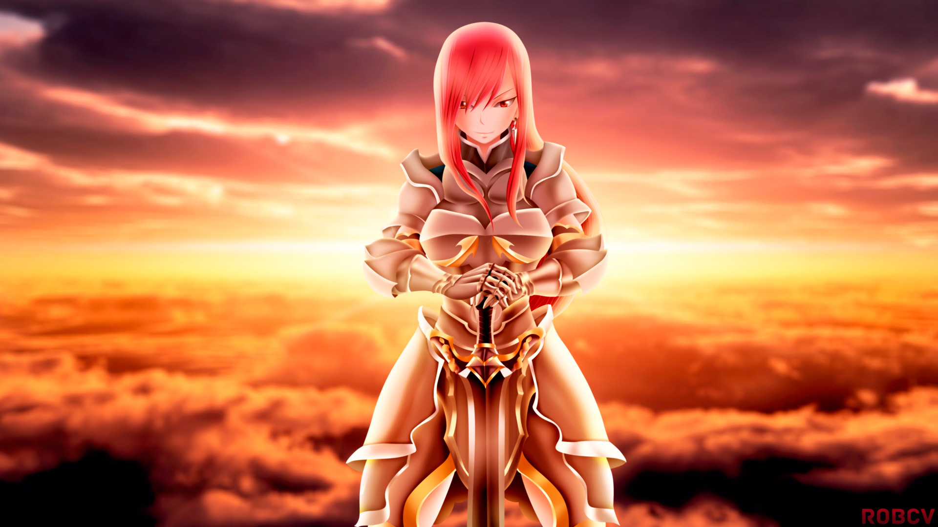1920x1080 erza scarlet armor and sword fairy tail anime girl