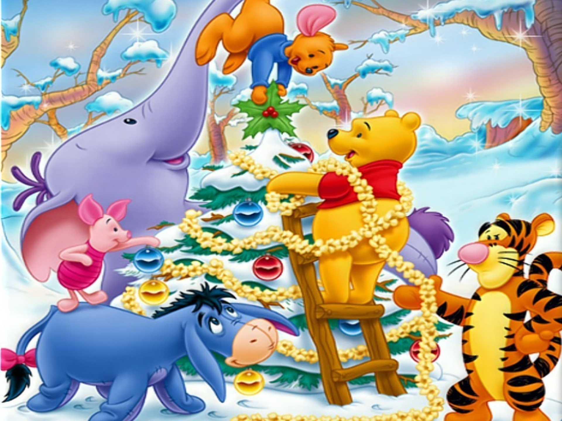 1920x1440 winnie the pooh christmas | Winnie The Pooh Christmas Decorating Wallpaper  with  .