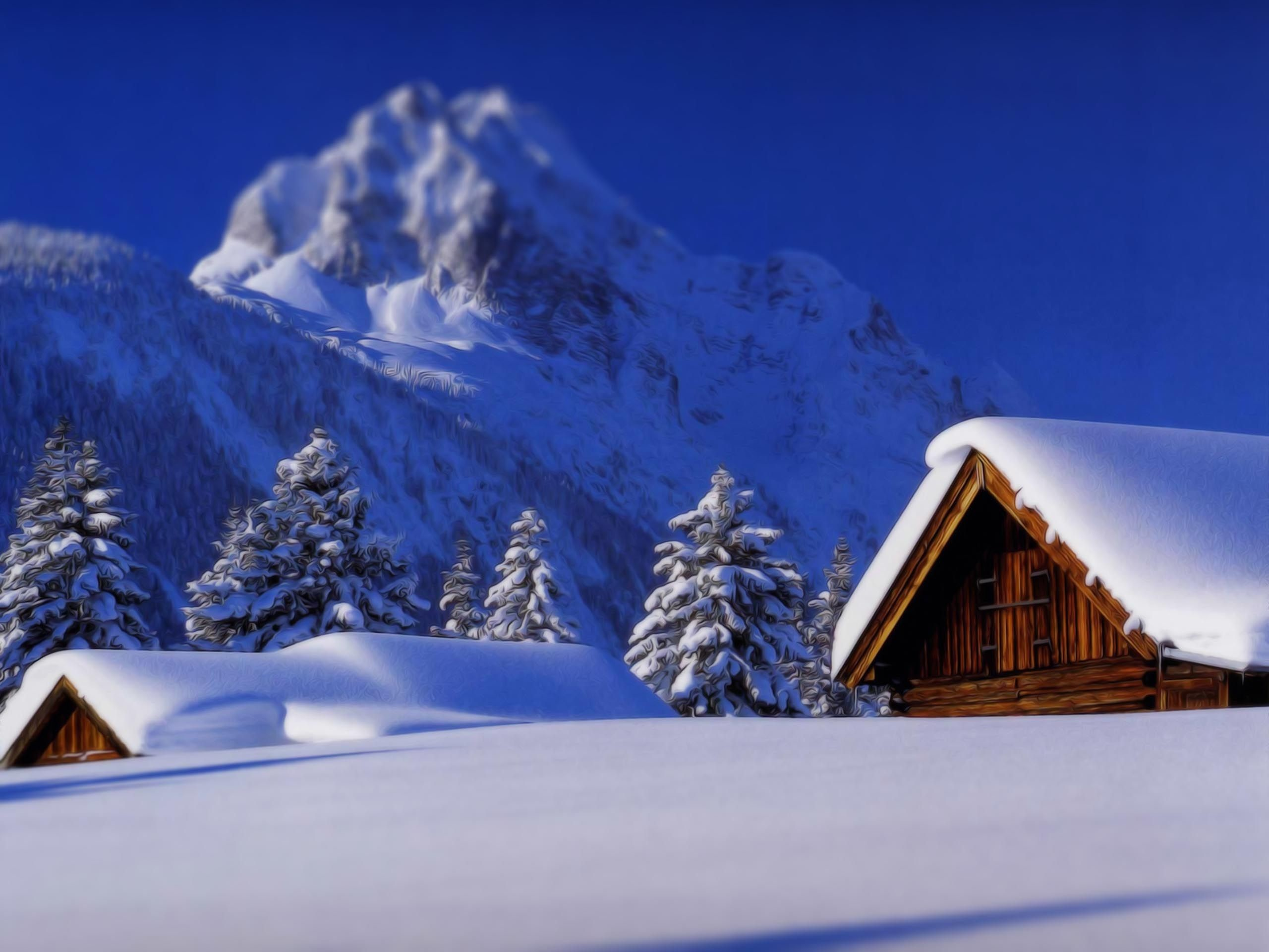 2560x1920 Christmas Nature Scenes Wallpapers. Mountain cabin Winter ...