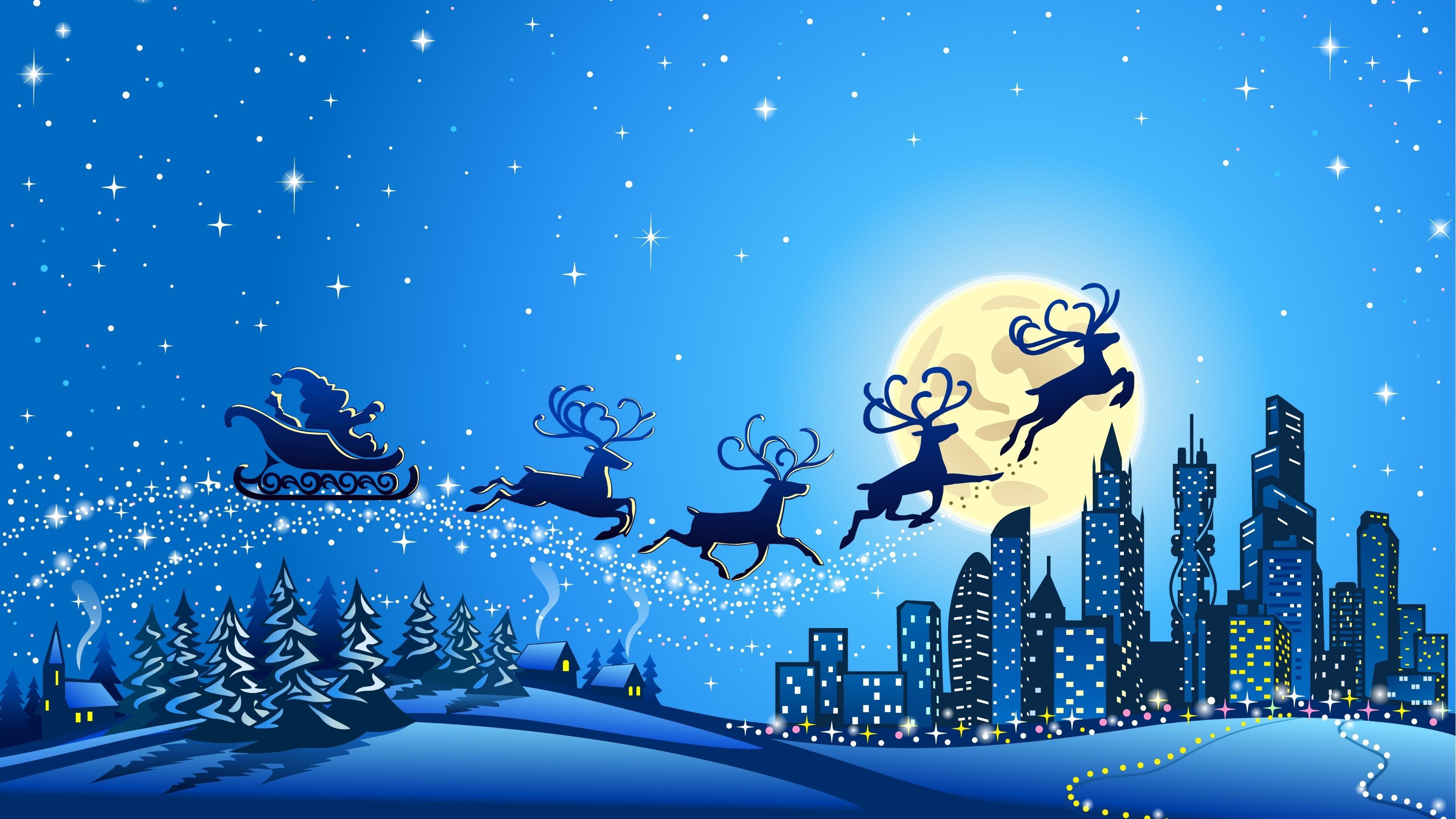 1920x1200 Cute Santa Claus Wallpaper Christmas Tree