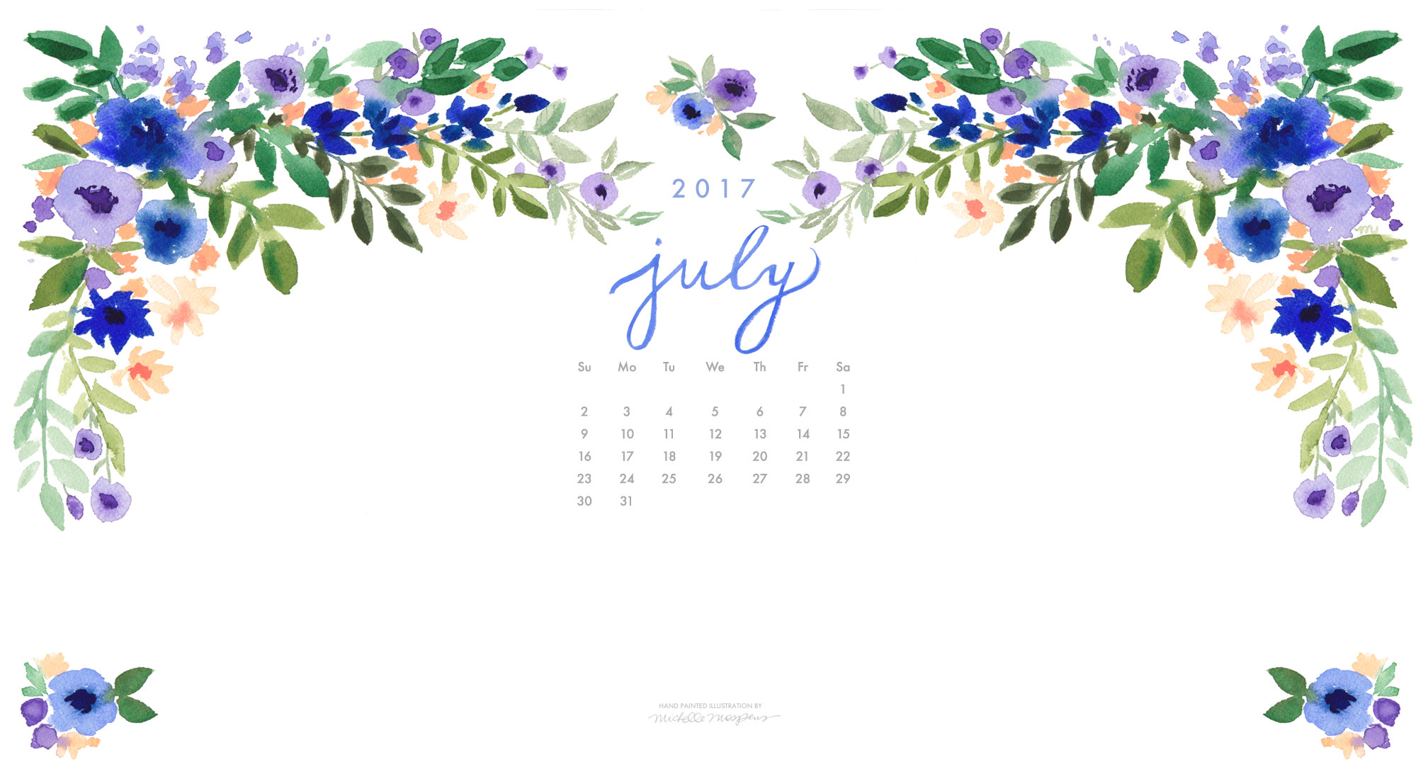2016x1100 Pretty posy watercolor July 2017 calendar wallpaper for your computer. 100%  original art by