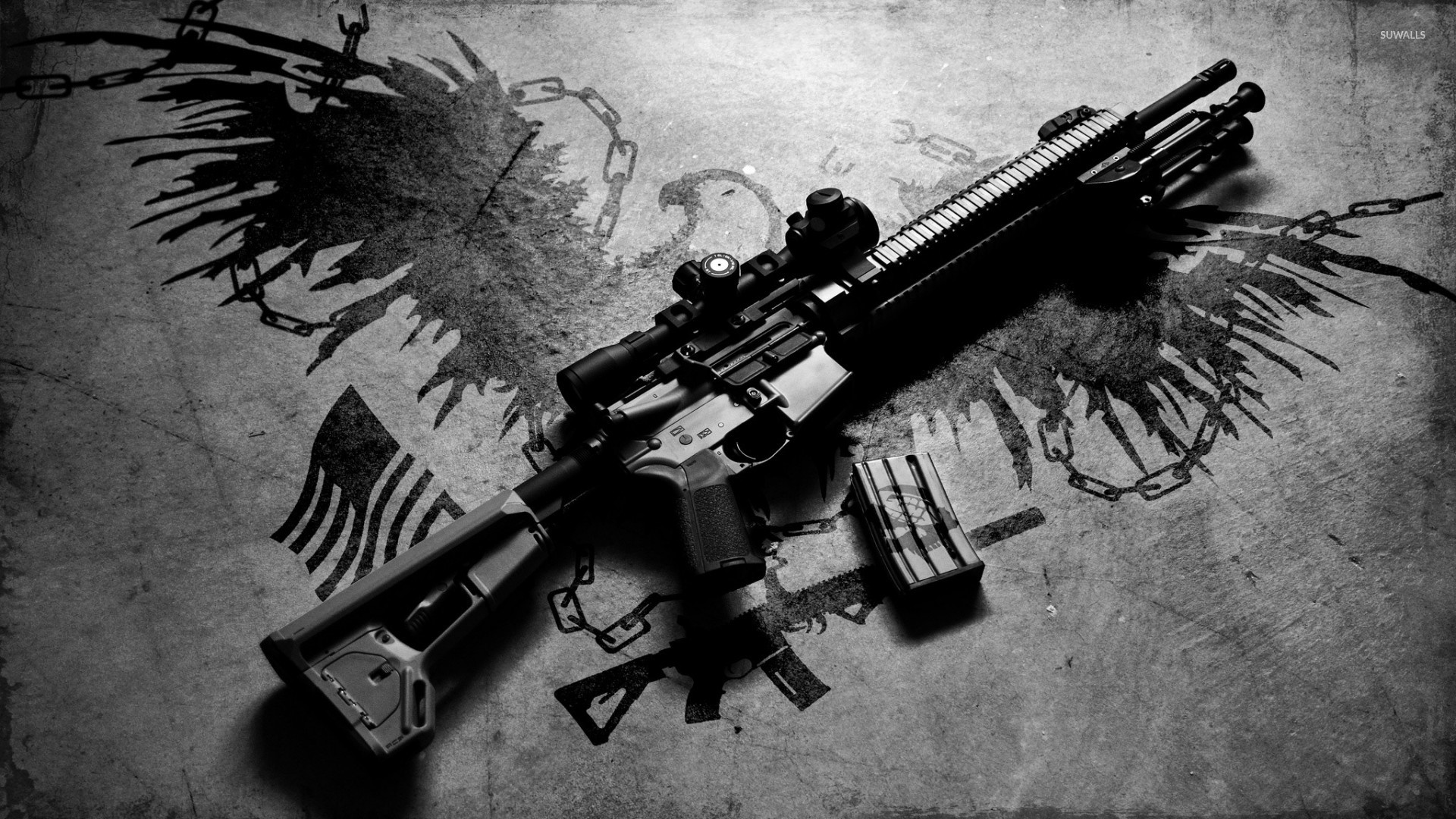 1920x1080 AR-15 rifle on the ground wallpaper