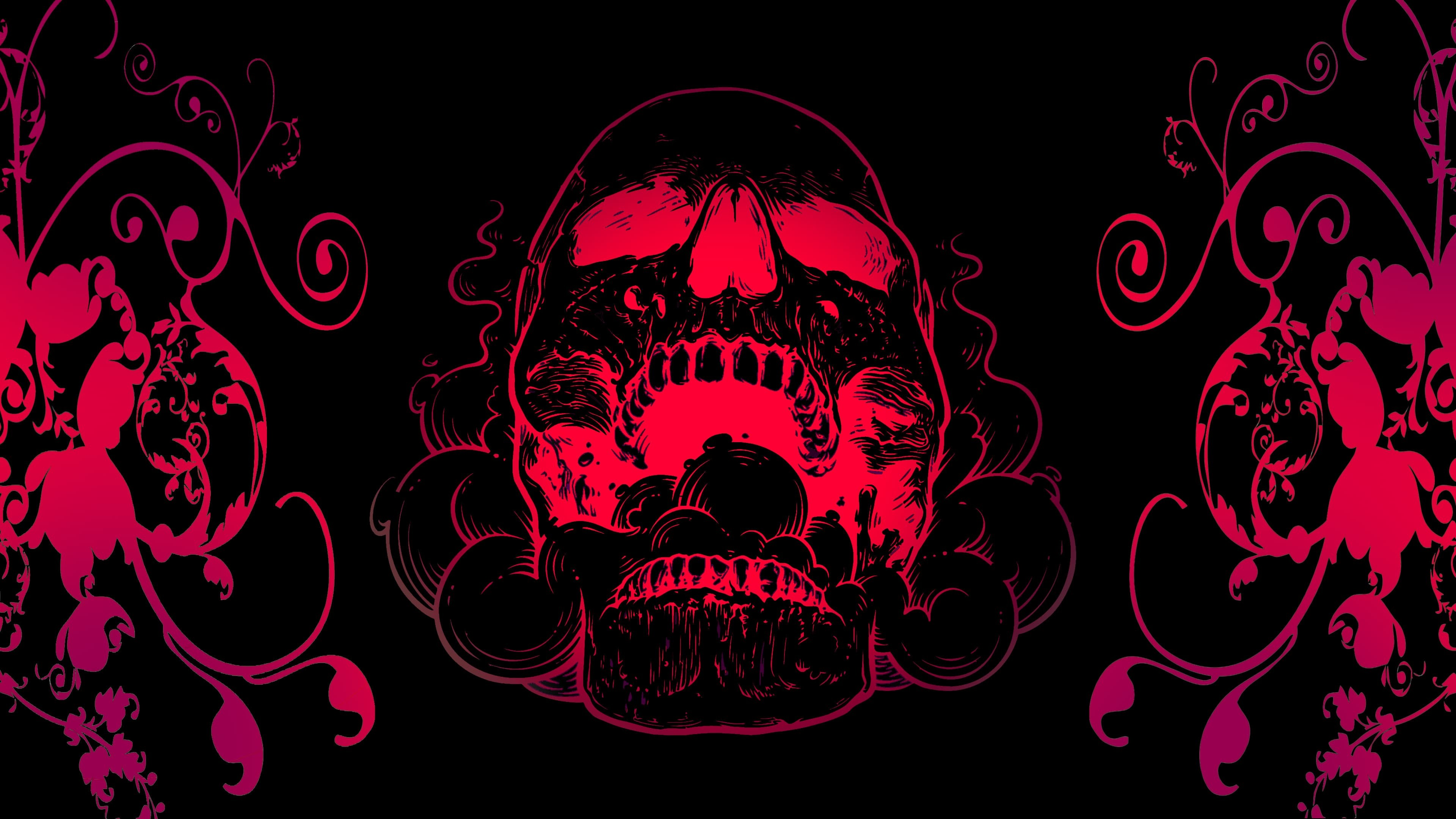 3840x2160 4K Red Skull Flowers Black Background - Image #2763 - Licence: Free for  Personal