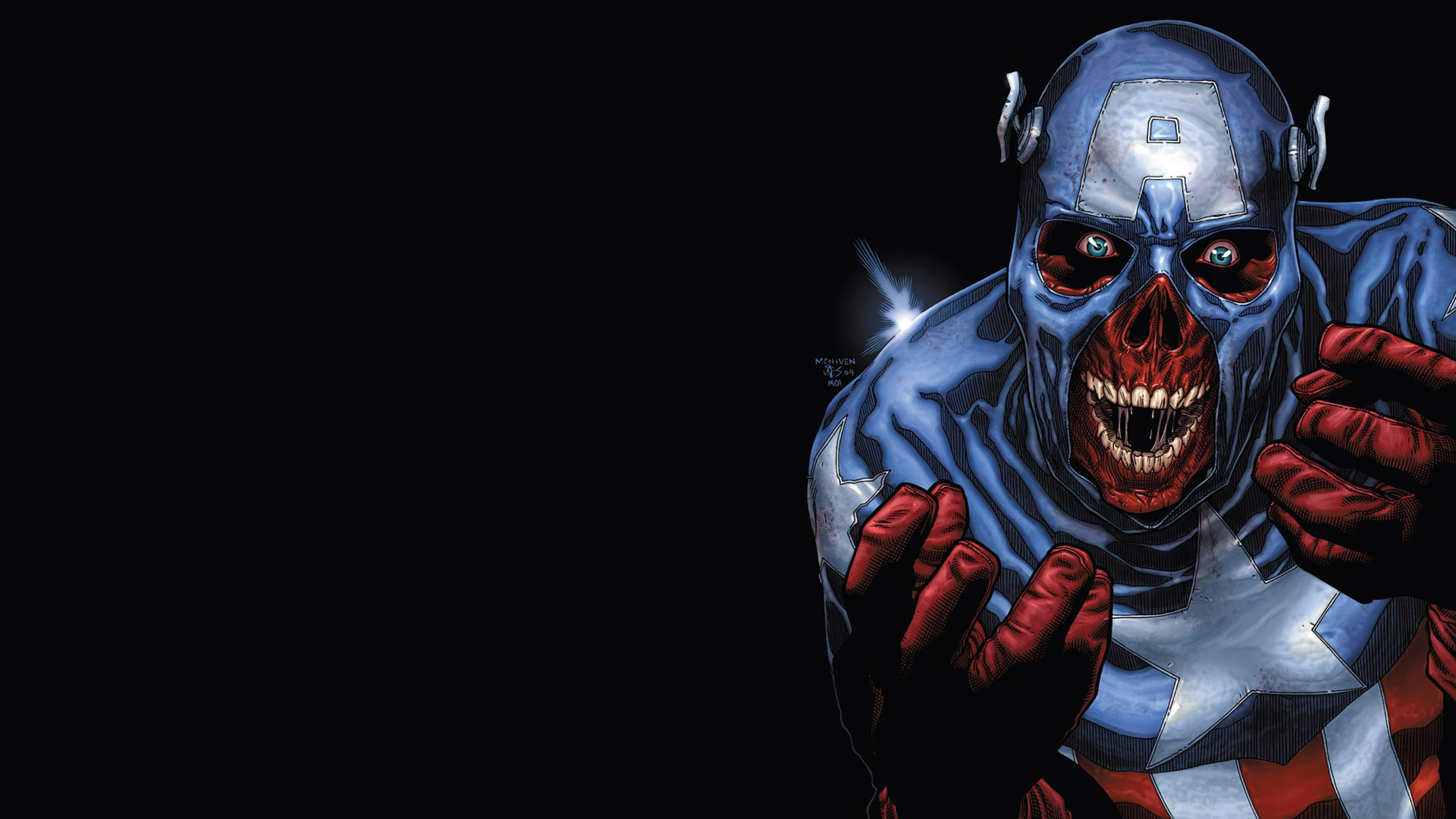 3840x2160 Preview wallpaper captain america, marvel, zombie art