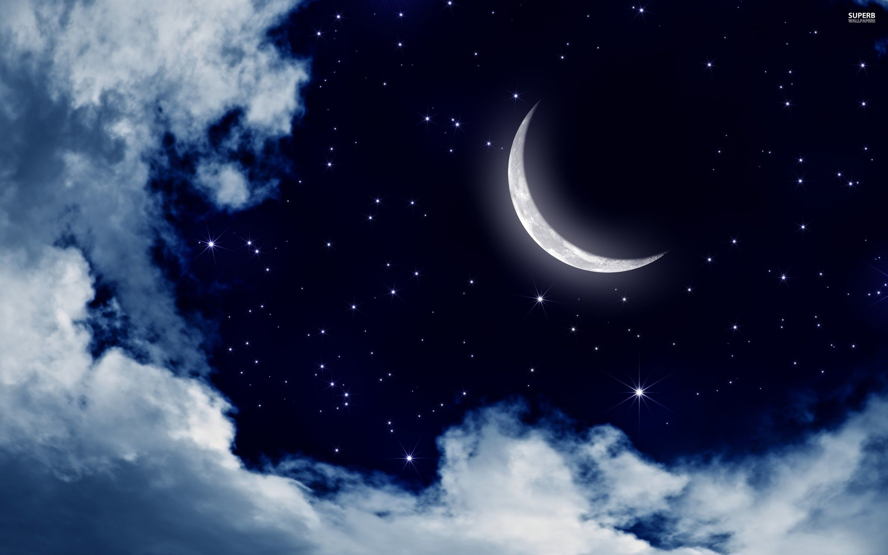 2880x1800 Moon and stars in the sky wallpaper - Digital Art wallpapers - #25176