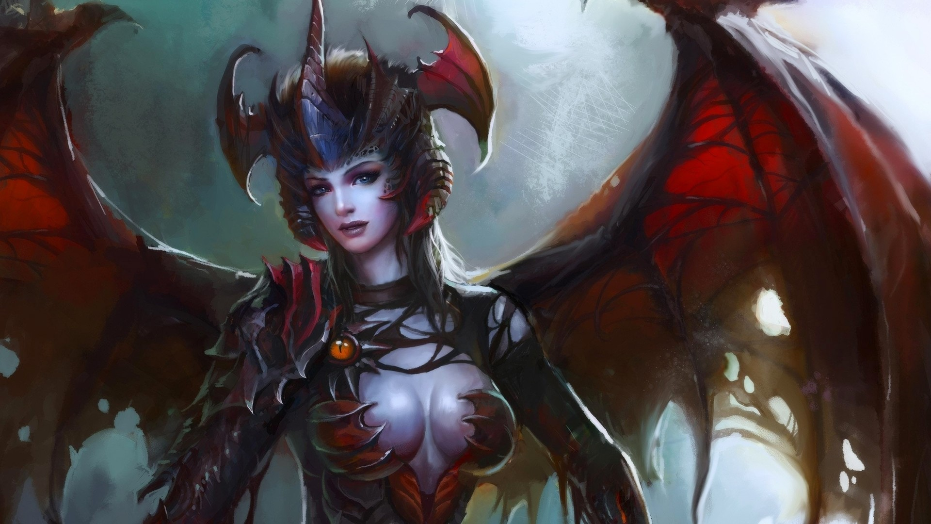 1920x1080 Description: Download Wings succubus horns armor artwork demon girl  wallpaper/desktop background in  HD & Widescreen resolution.