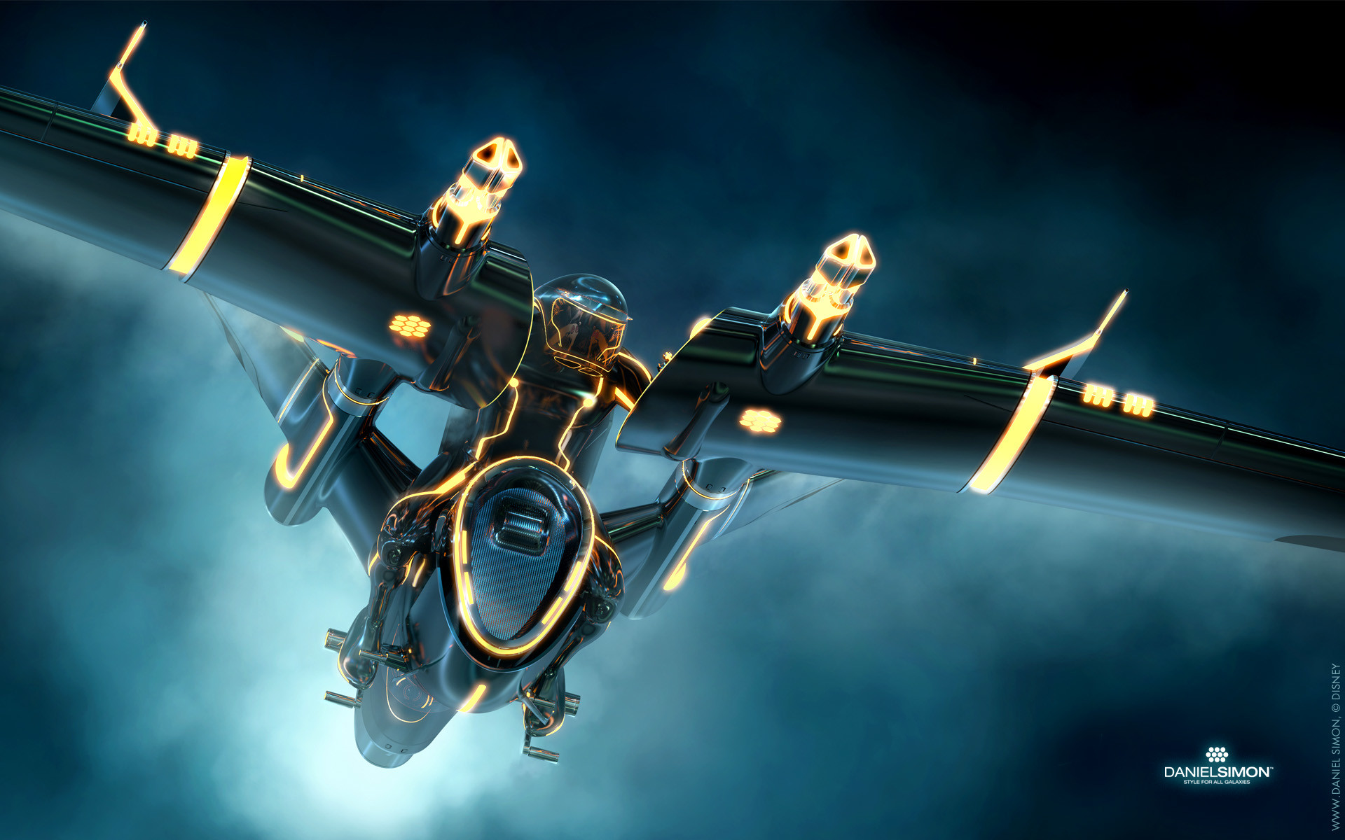 1920x1200 Wallpaper Tron Legacy Light Jet Design