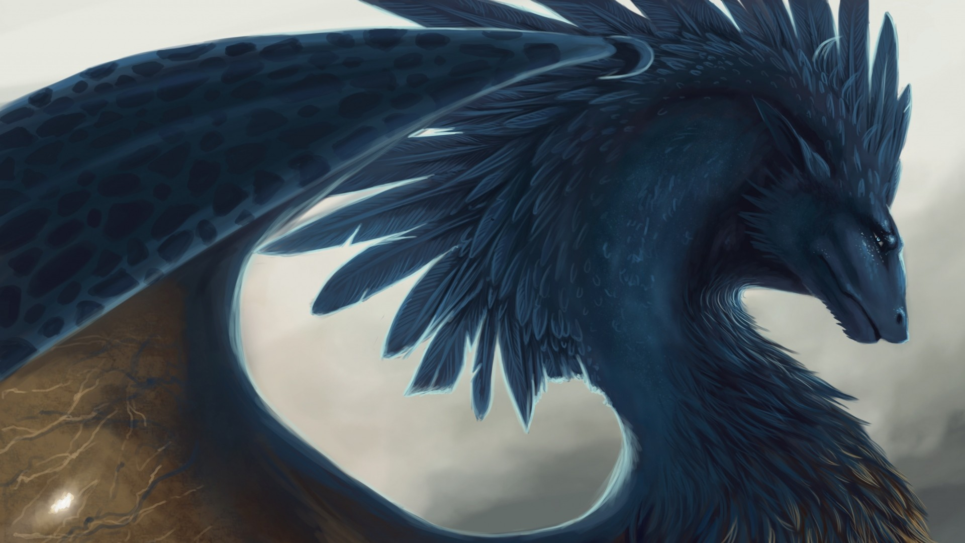 1920x1080 Preview wallpaper dragon, fantasy, art, feathers
