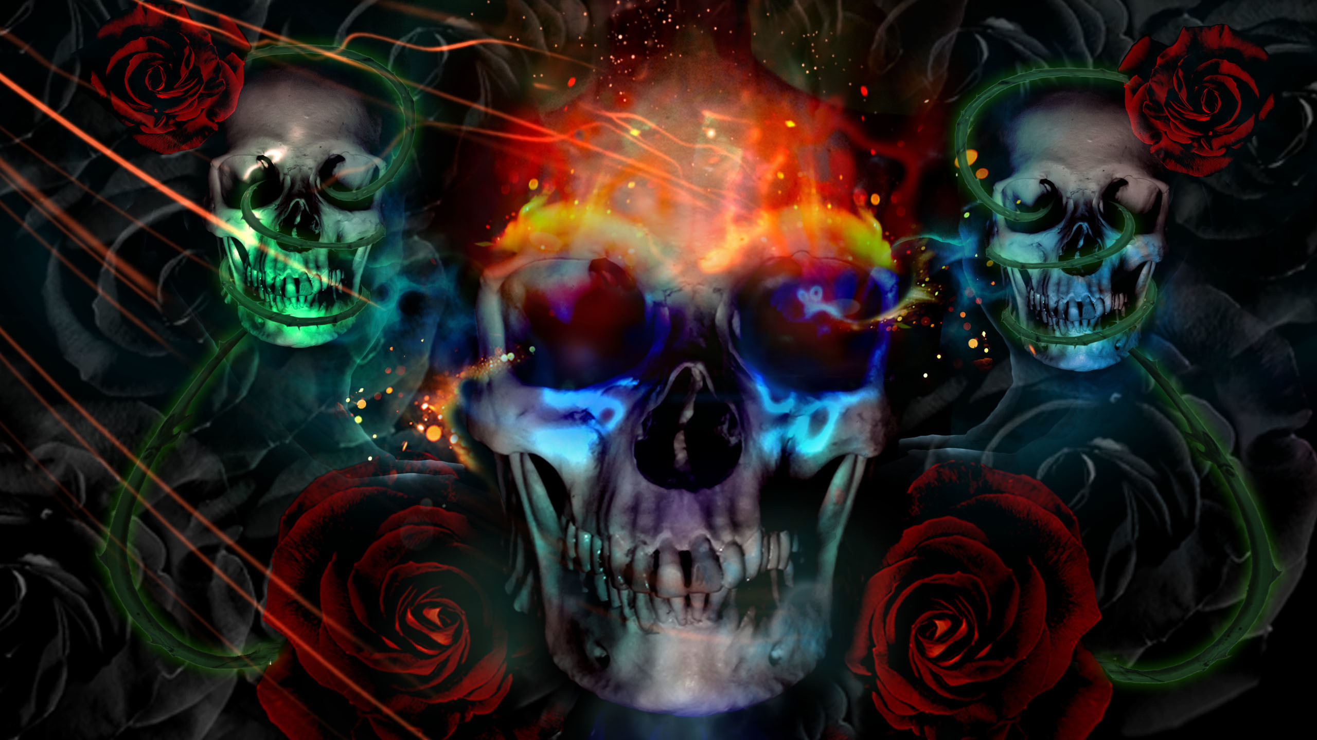 2560x1440 ... Images of Awesome Skull Wallpapers Guns - #SC ...