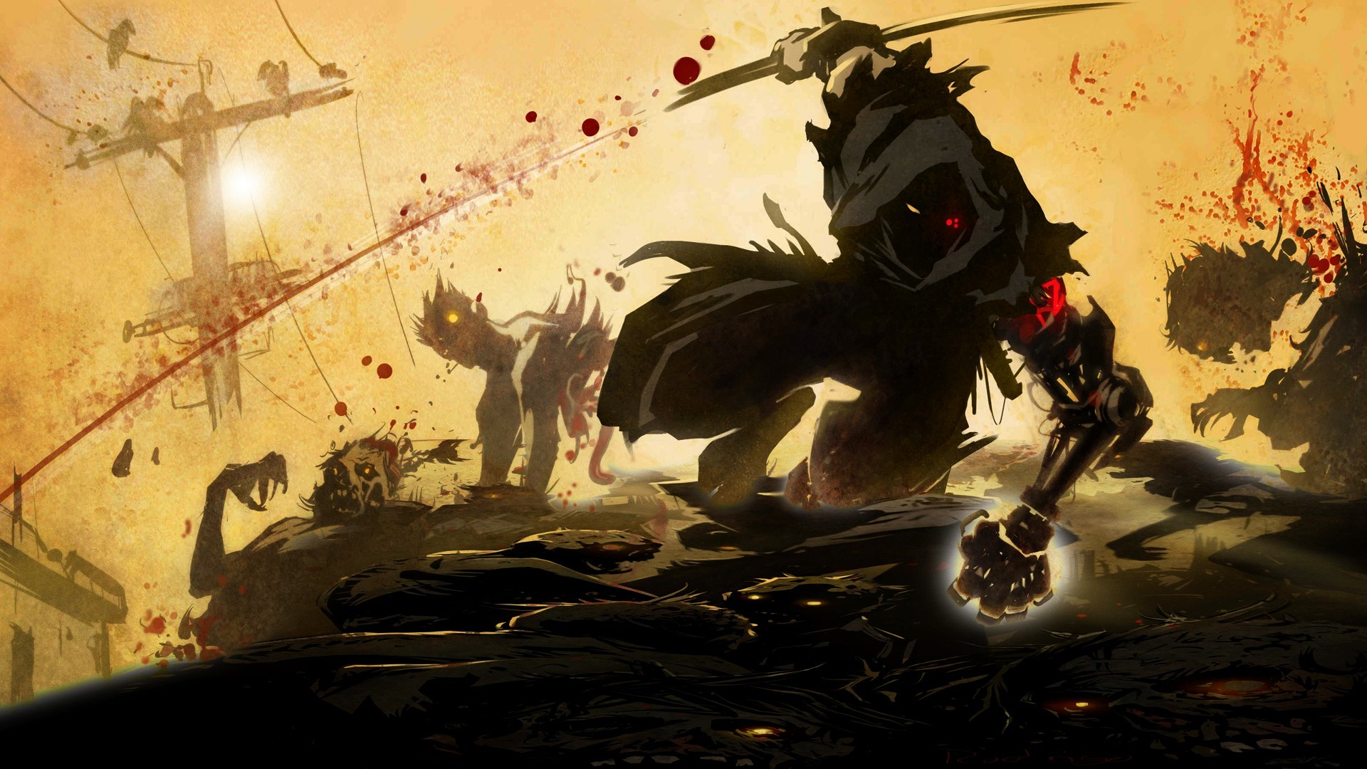 1920x1080 videogames anime warrior dark zombies blood wallpaper background .