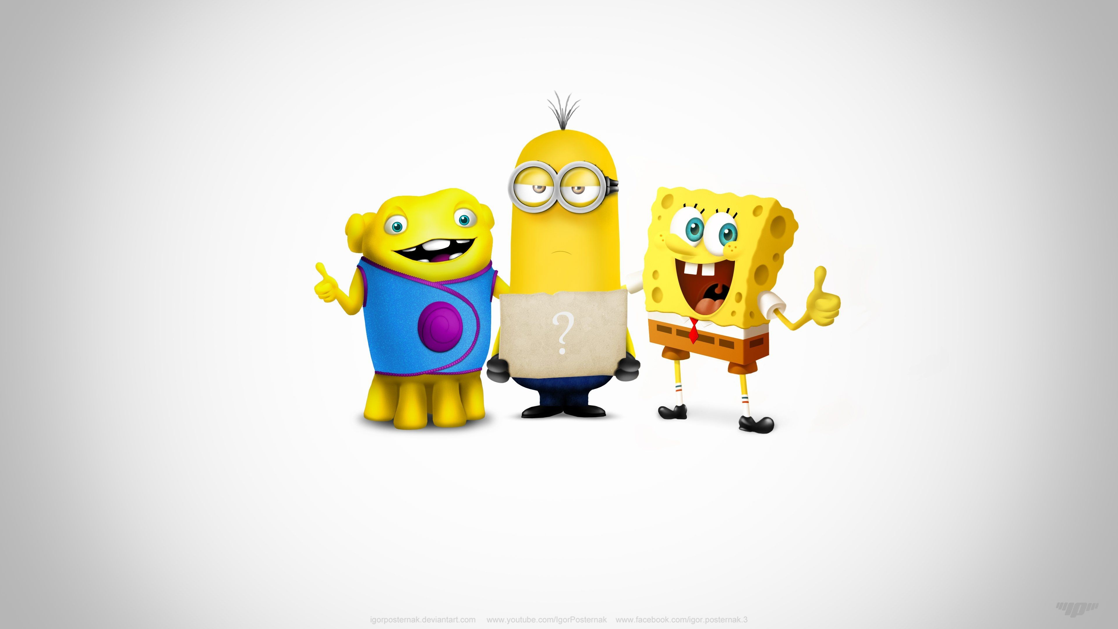 3840x2160 Super Team Oh Kevin Spongebob cartoon wallpaper design cute funny .