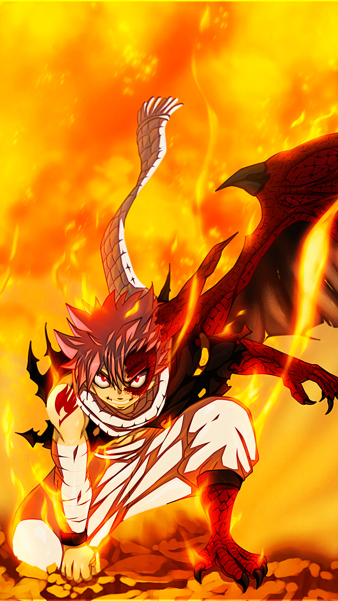 1080x1920 Anime Fairy Tail Natsu Dragneel Fire Mobile Wallpaper