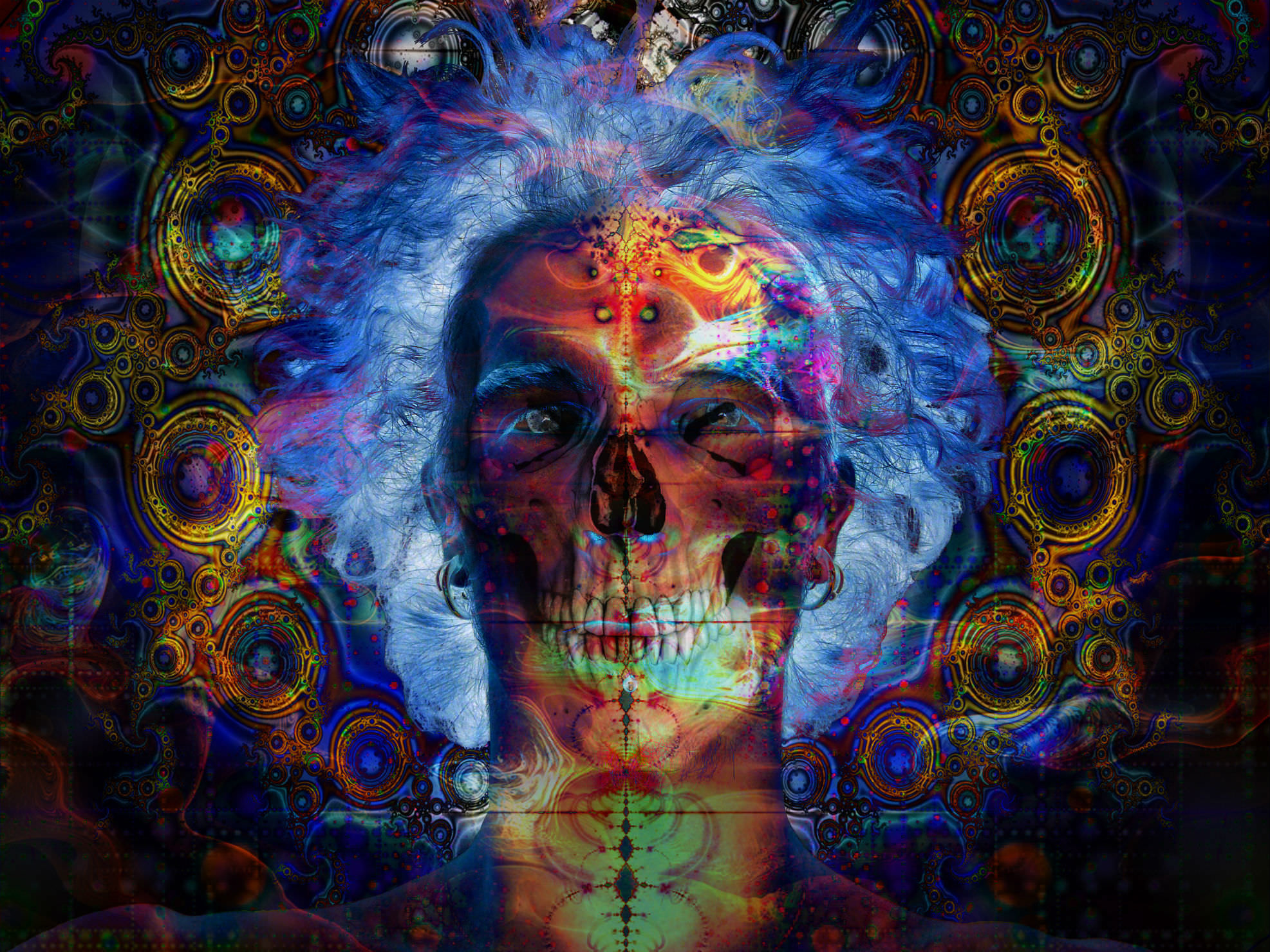 1973x1480 Outstanding Skull Trippy Wallpaper