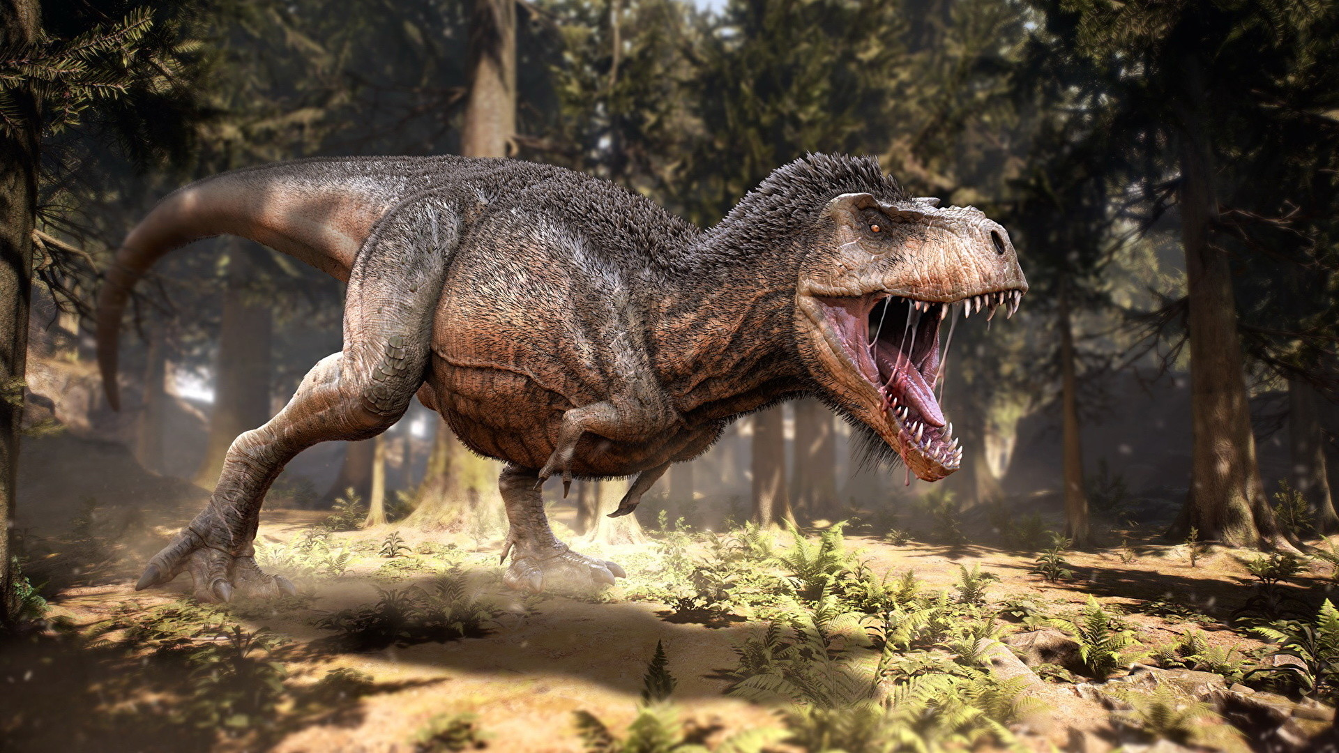 1920x1080 Wallpapers Tyrannosaurus rex Dinosaurs 3D Graphics Roar Animals Ancient  animals  angry