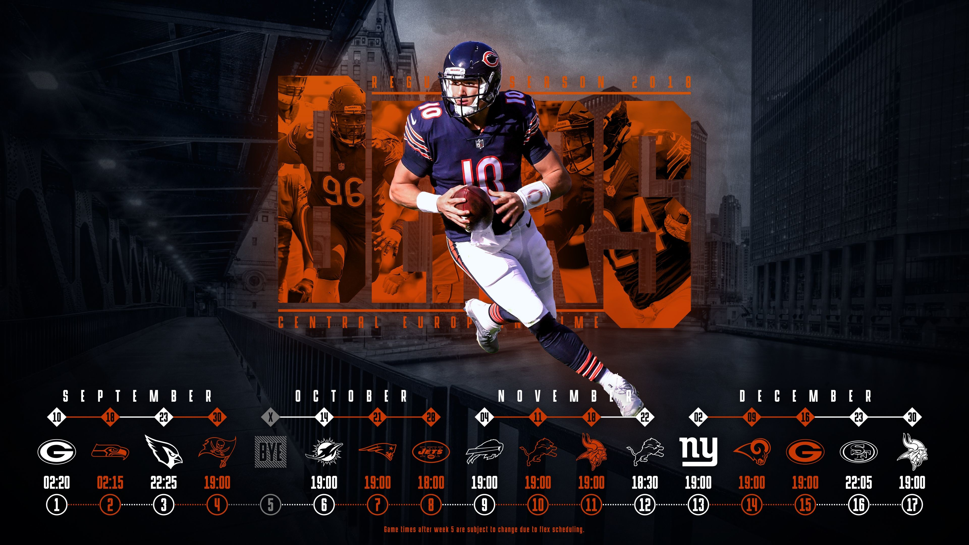 3840x2160 Schedule wallpaper for the Chicago Bears Regular Season, 2018 Central  European Time. Made by Tobler Gergő #tgersdiy