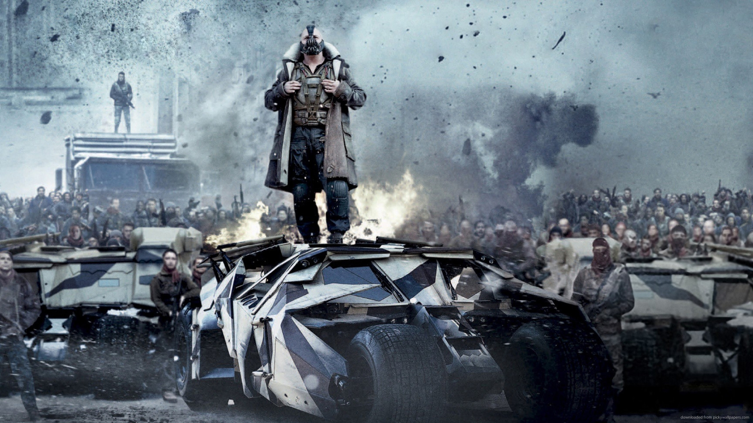 2560x1440 Bane Standing On The Batmobile for