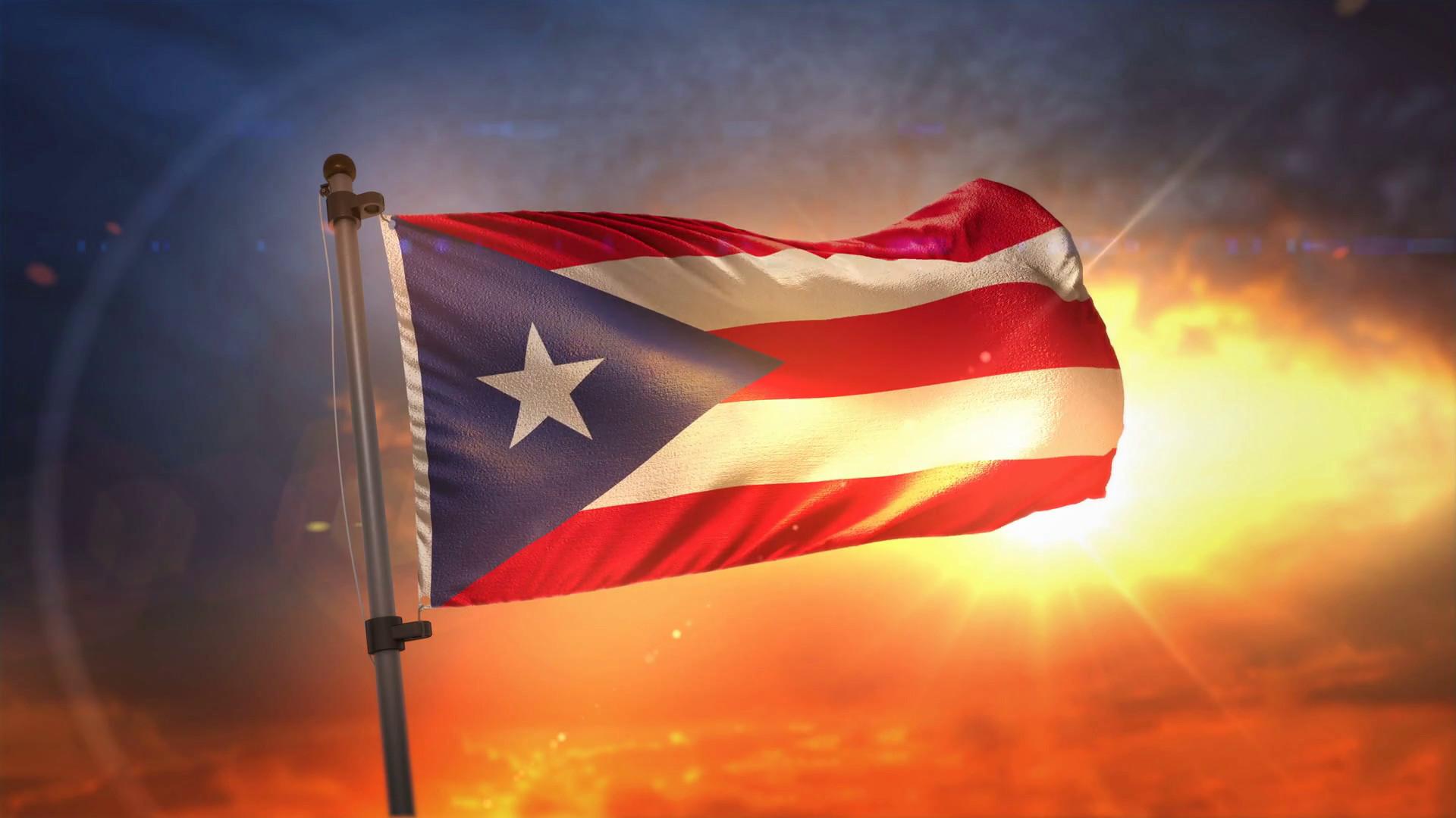 1920x1080 Puerto Rico Flag Backlit At Beautiful Sunrise Loop Slow Motion 4K Background