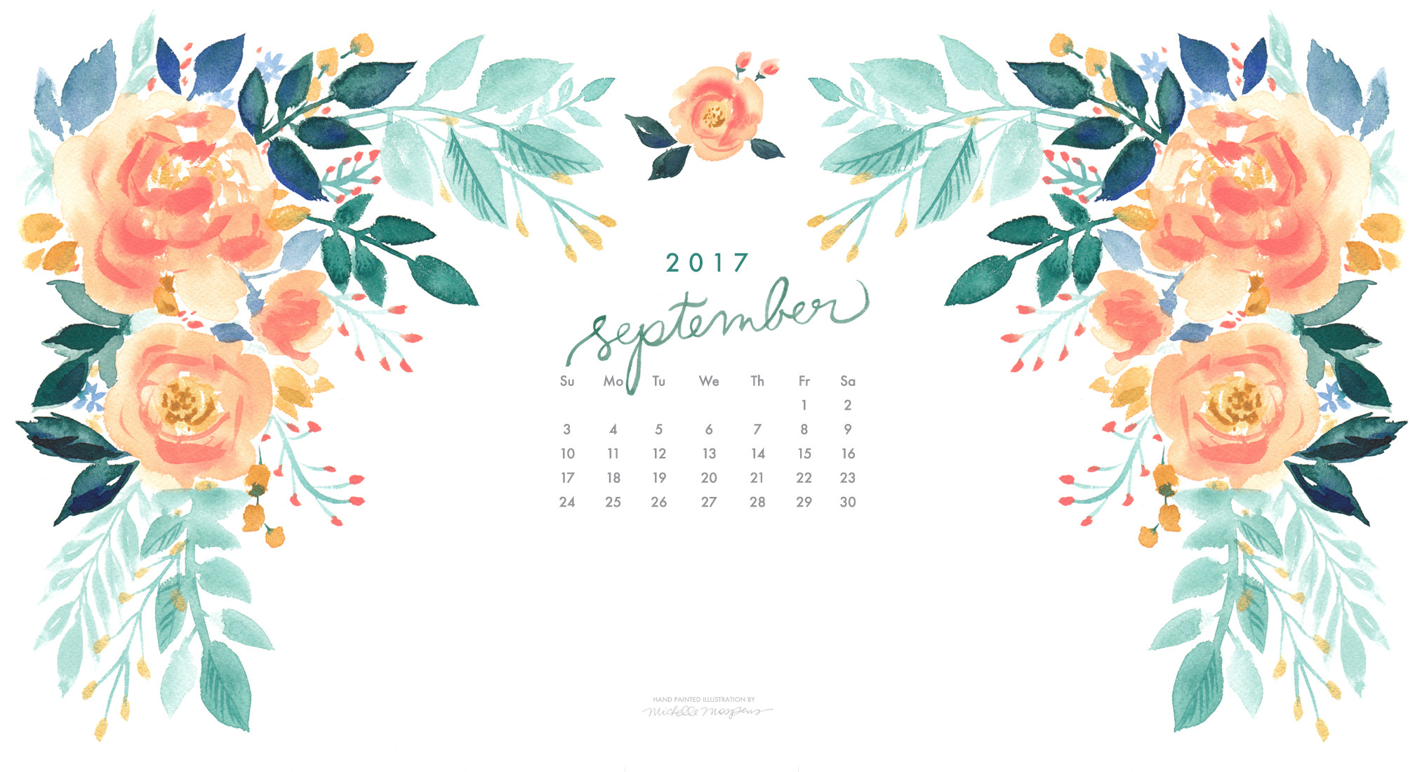 2016x1100 Pretty peach blooms watercolor September 2017 calendar wallpaper for your  computer. 100% original art