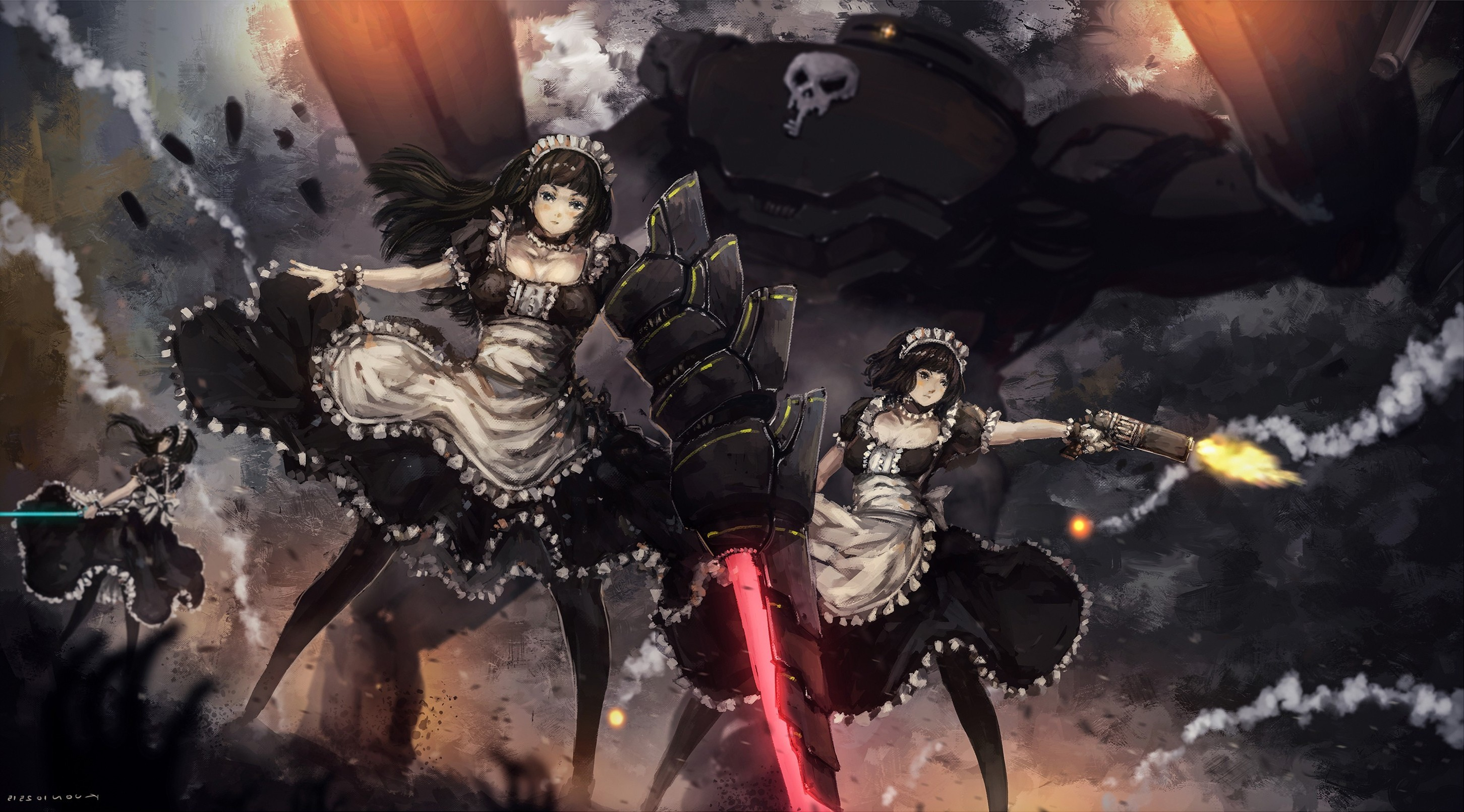 2903x1611 anime Girls, Original Characters, Maid Outfit, Black Hair, Headdress,  Weapon, Gun Wallpapers HD / Desktop and Mobile Backgrounds