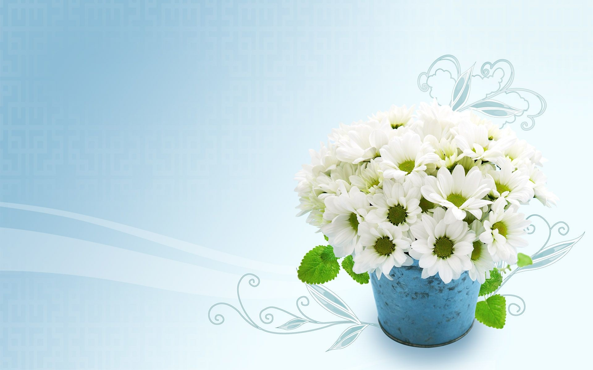 Blue Wallpaper with White Flowers (45+ images)