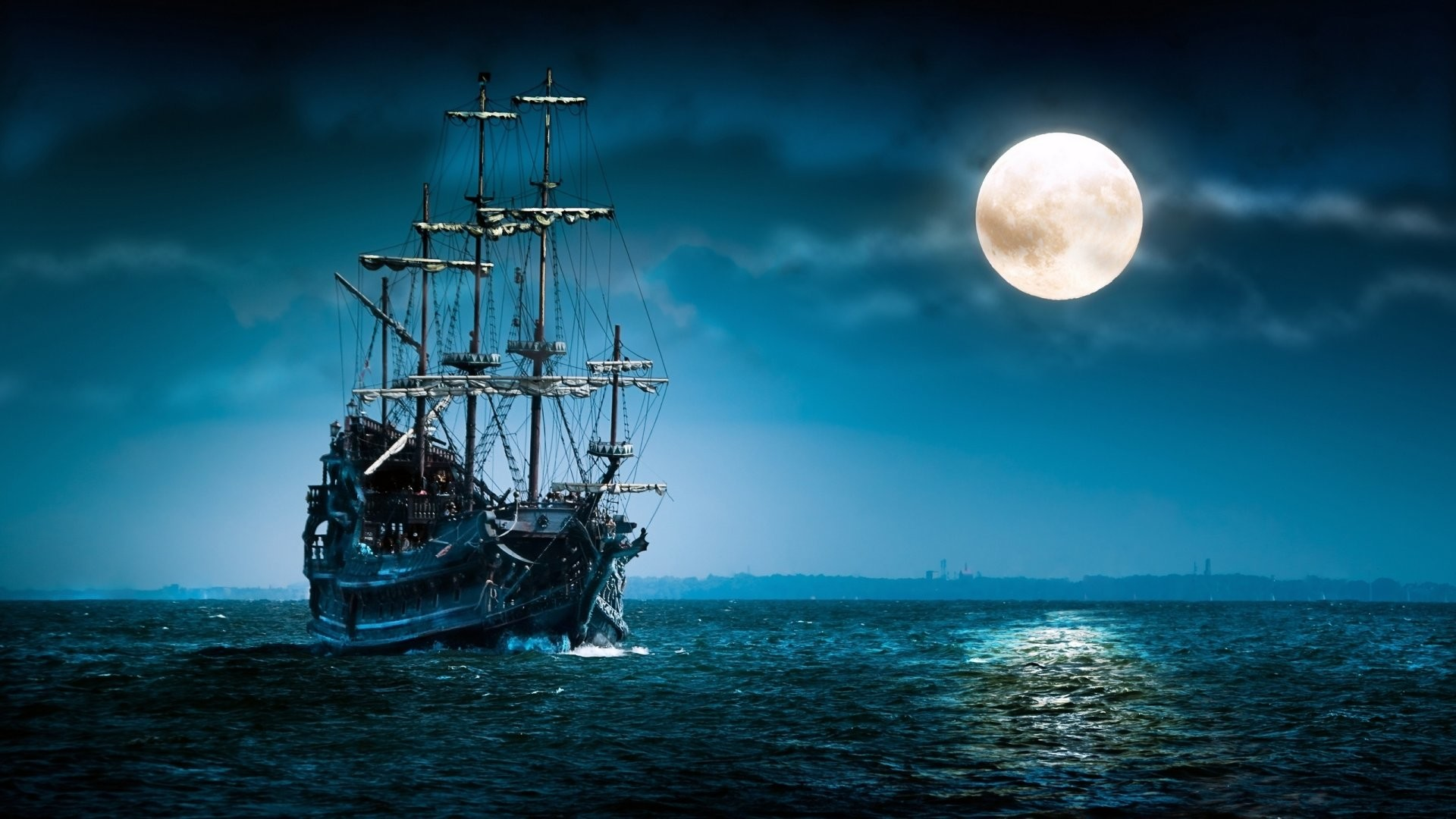 1920x1080 sailboat sea moon ship boat ocean night mood wallpapers hd Wallpaper HD