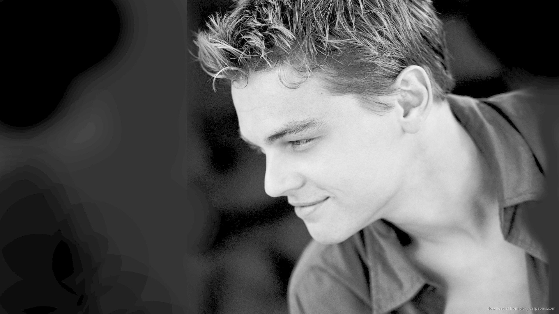 1920x1080 Monochrome Leonardo Dicaprio Side Profile Wallpaper picture