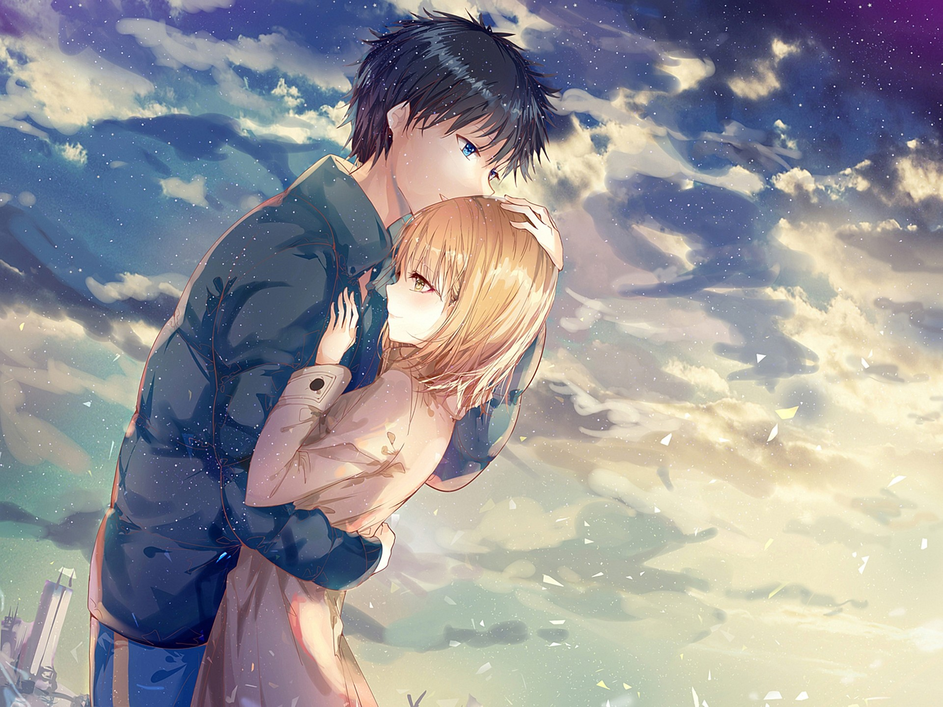 1920x1440  - anime couple, hug, romance, clouds, scenic # original resolution