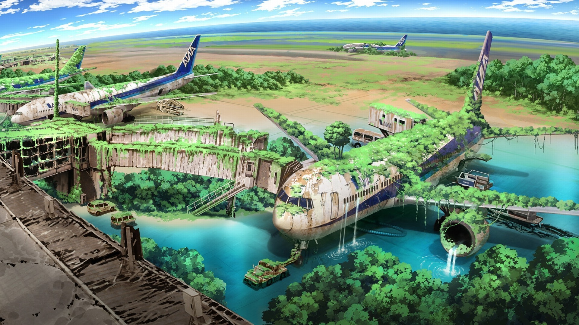 1920x1080 apocalyptic, Airplane, Nature, Anime, Aircraft, Drawing Wallpapers HD /  Desktop and Mobile Backgrounds