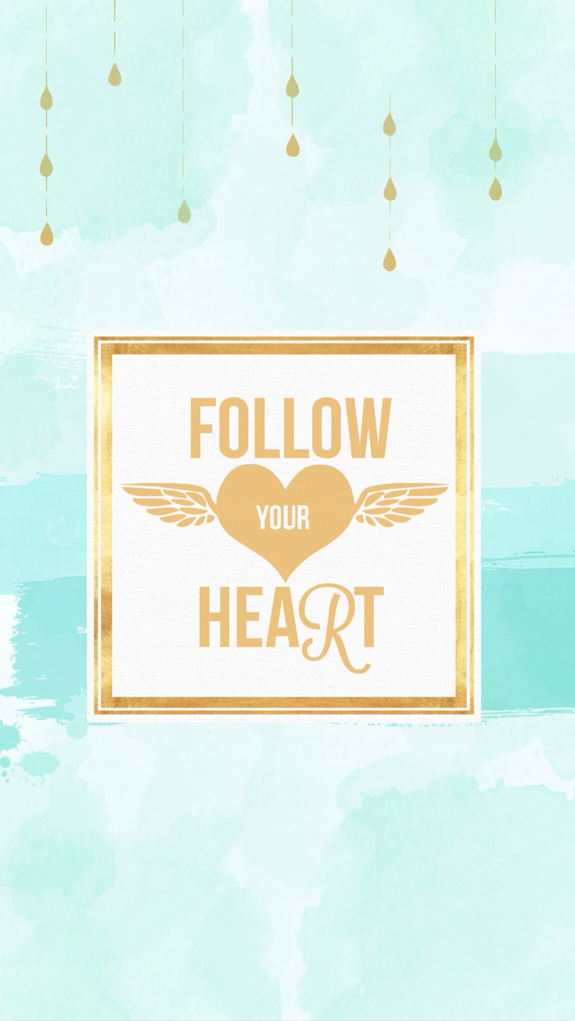 1153x2048 Aqua watercolour gold wings Follow Heart wallpaper background phone iphone  lock screen