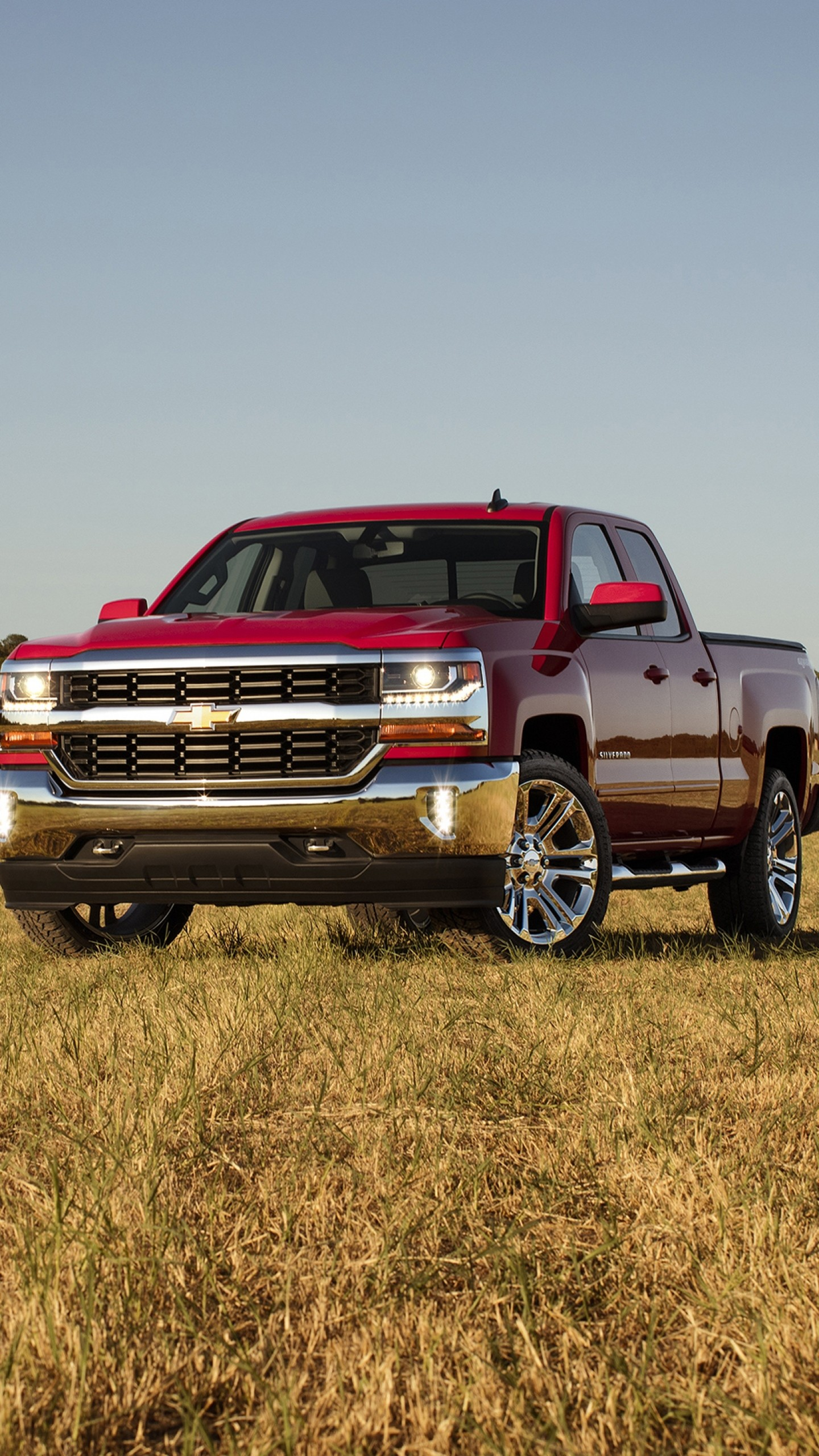1440x2560  Wallpaper chevrolet, silverado, double cab, front view