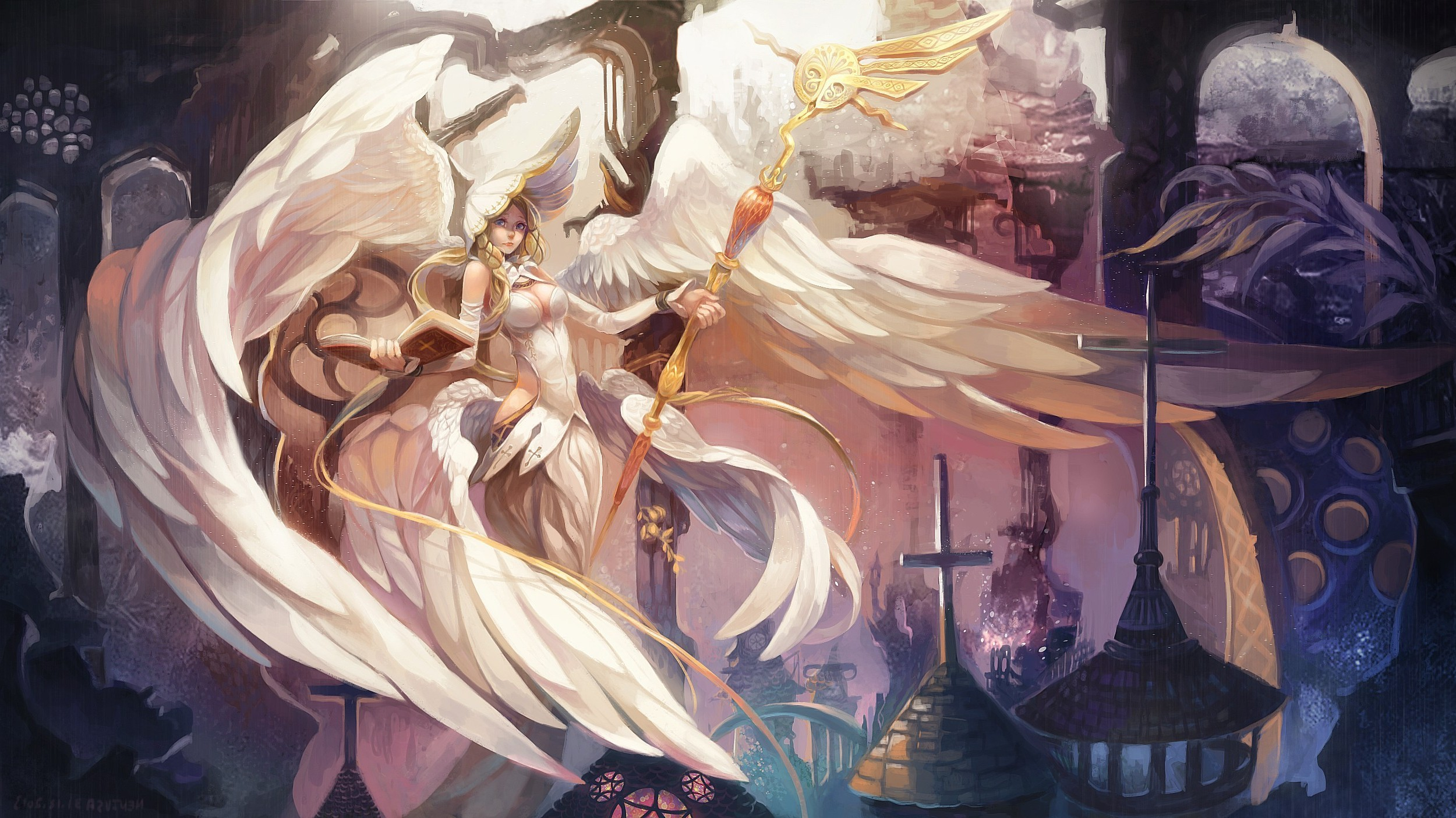 2500x1406 women, Fantasy Art, Angel, Wings Wallpapers HD / Desktop and Mobile  Backgrounds