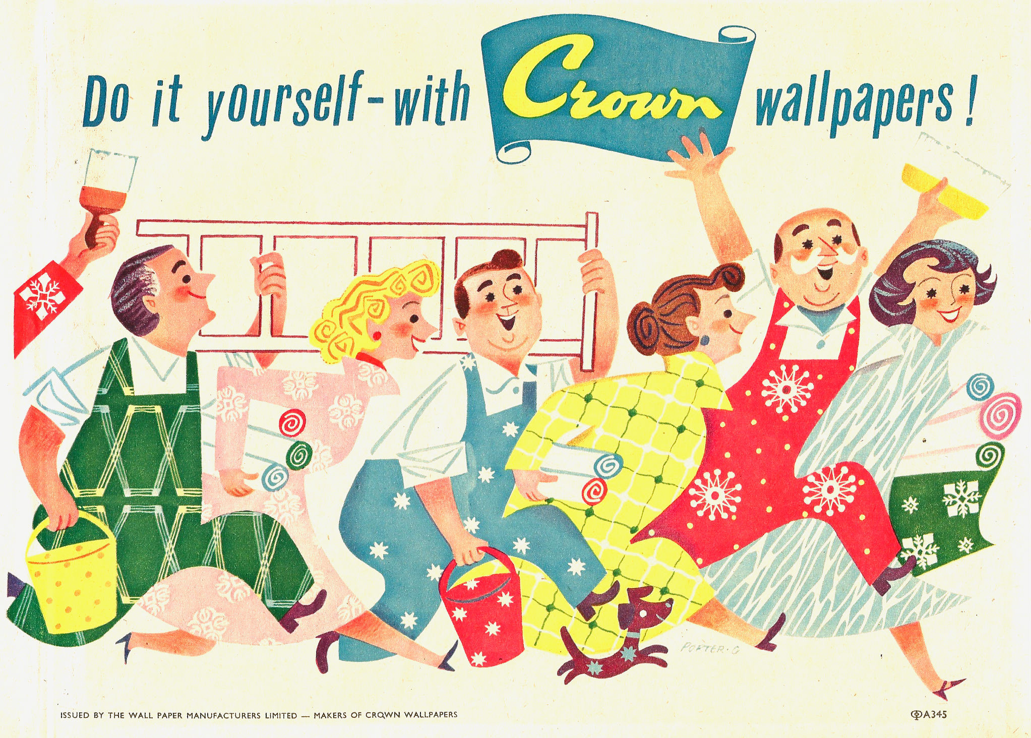 2045x1464 Crown wallpapers midcentury ad showing a bunch of happy men and women.