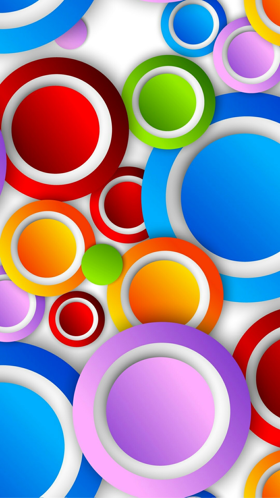 1080x1920 Colorful Circles with White Trim Wallpaper