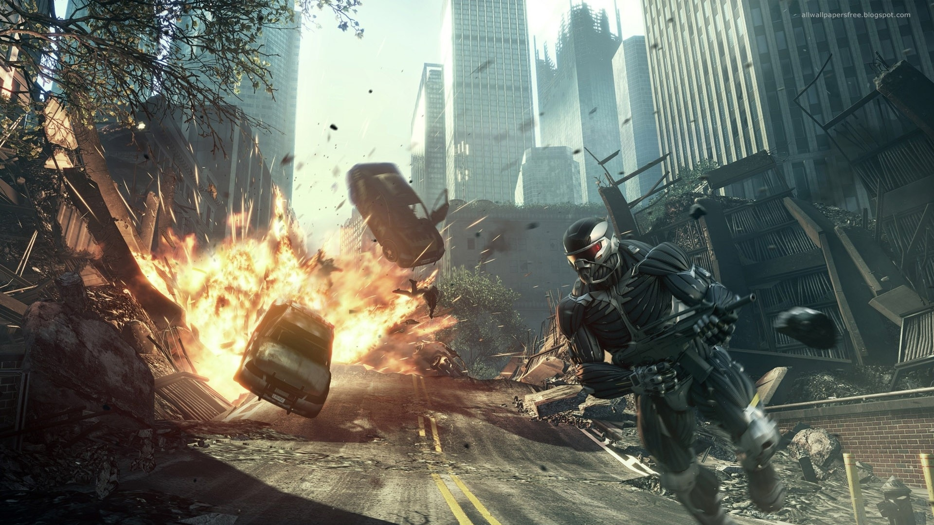 3840x2160 Preview wallpaper crysis, road, explosion, car, city, alcatraz