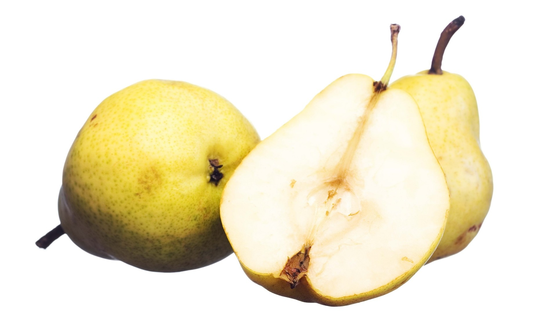 1920x1080  Wallpaper pears, white background, cut